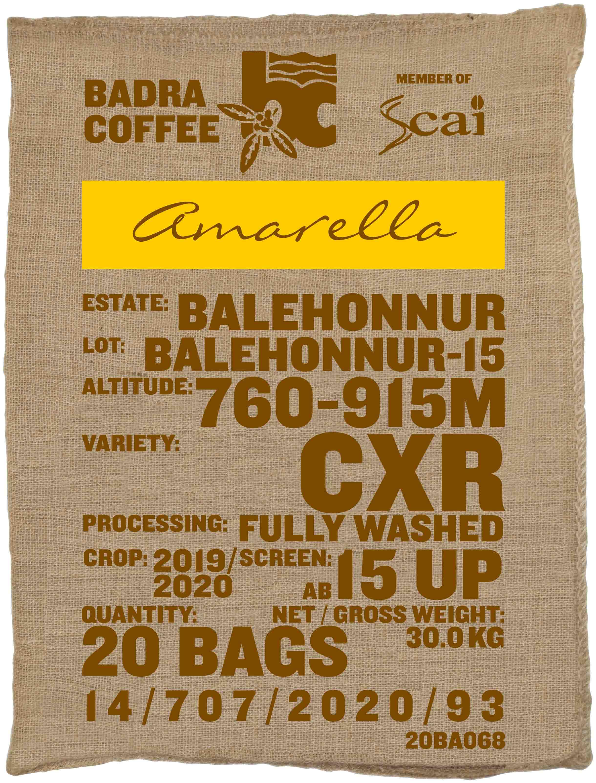 Ein Rohkaffeesack amarella Parzellenkaffee Varietät CxR. Badra Estates Lot Balehonnur 15.