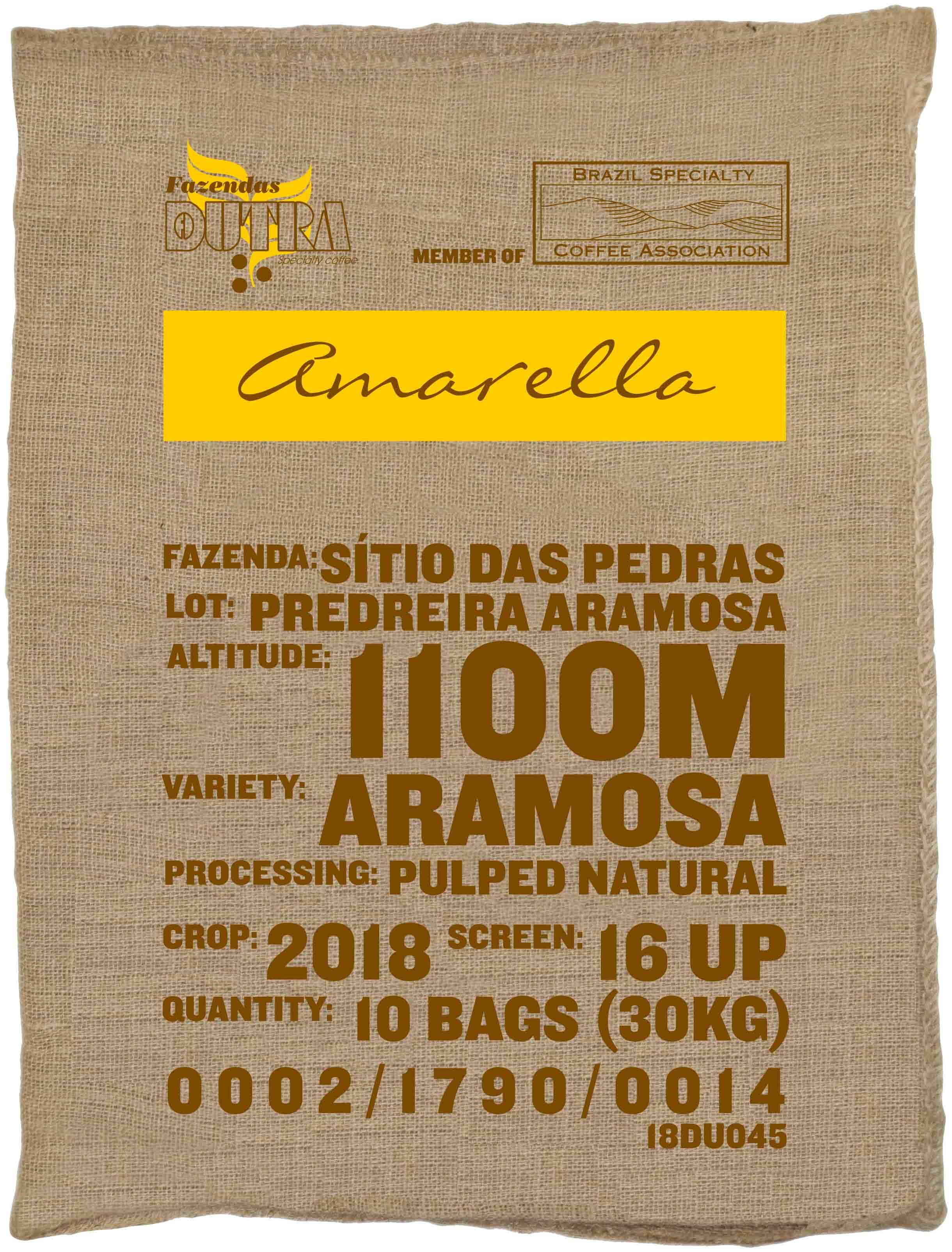 Ein Rohkaffeesack amarella Parzellenkaffee Varietät Aramosa. Fazendas Dutra Lot Predreira Aramosa.