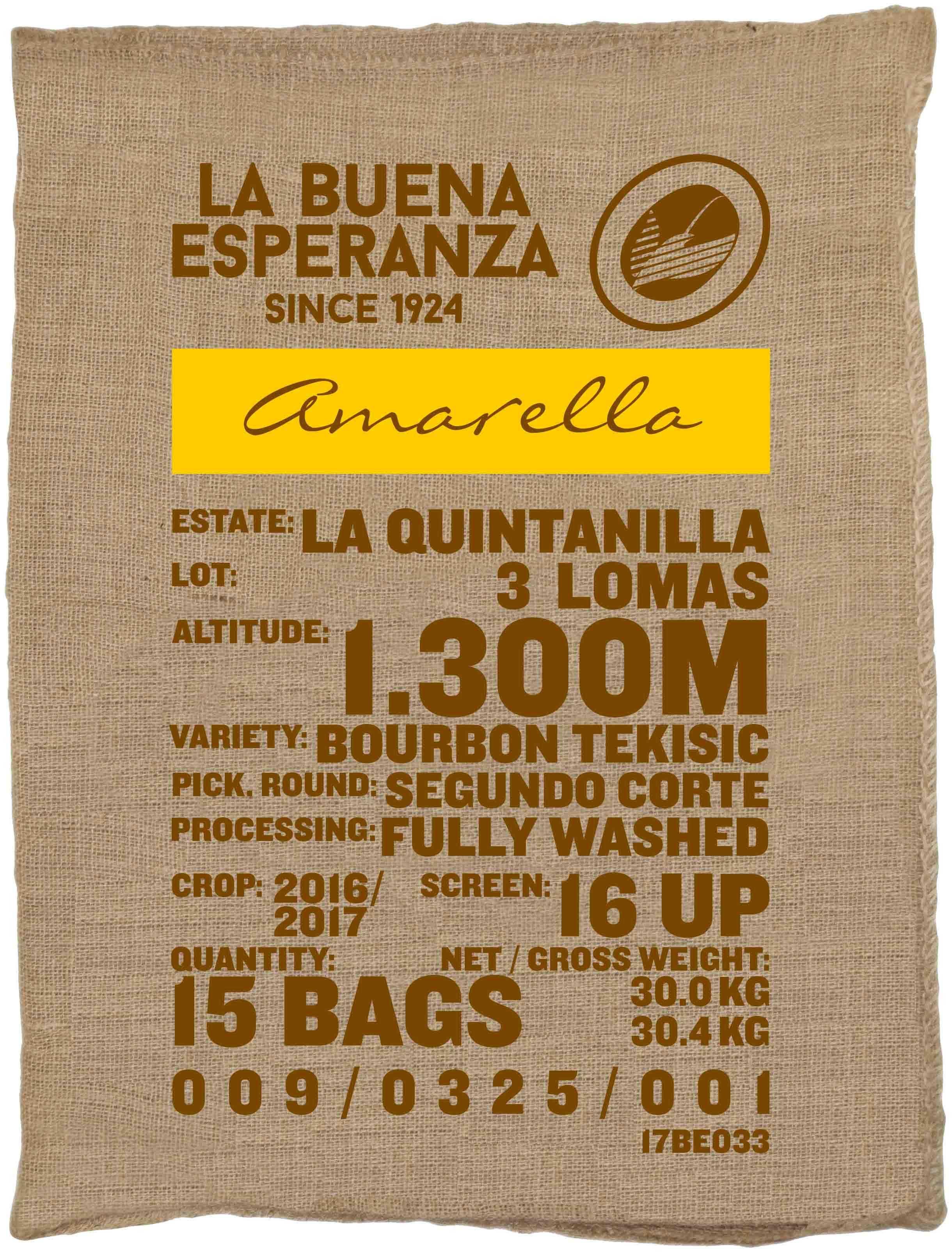 Ein Rohkaffeesack amarella Parzellenkaffee Varietät Bourbon Teksic. Finca La Buena Esperanza Lot 3 Lomas.