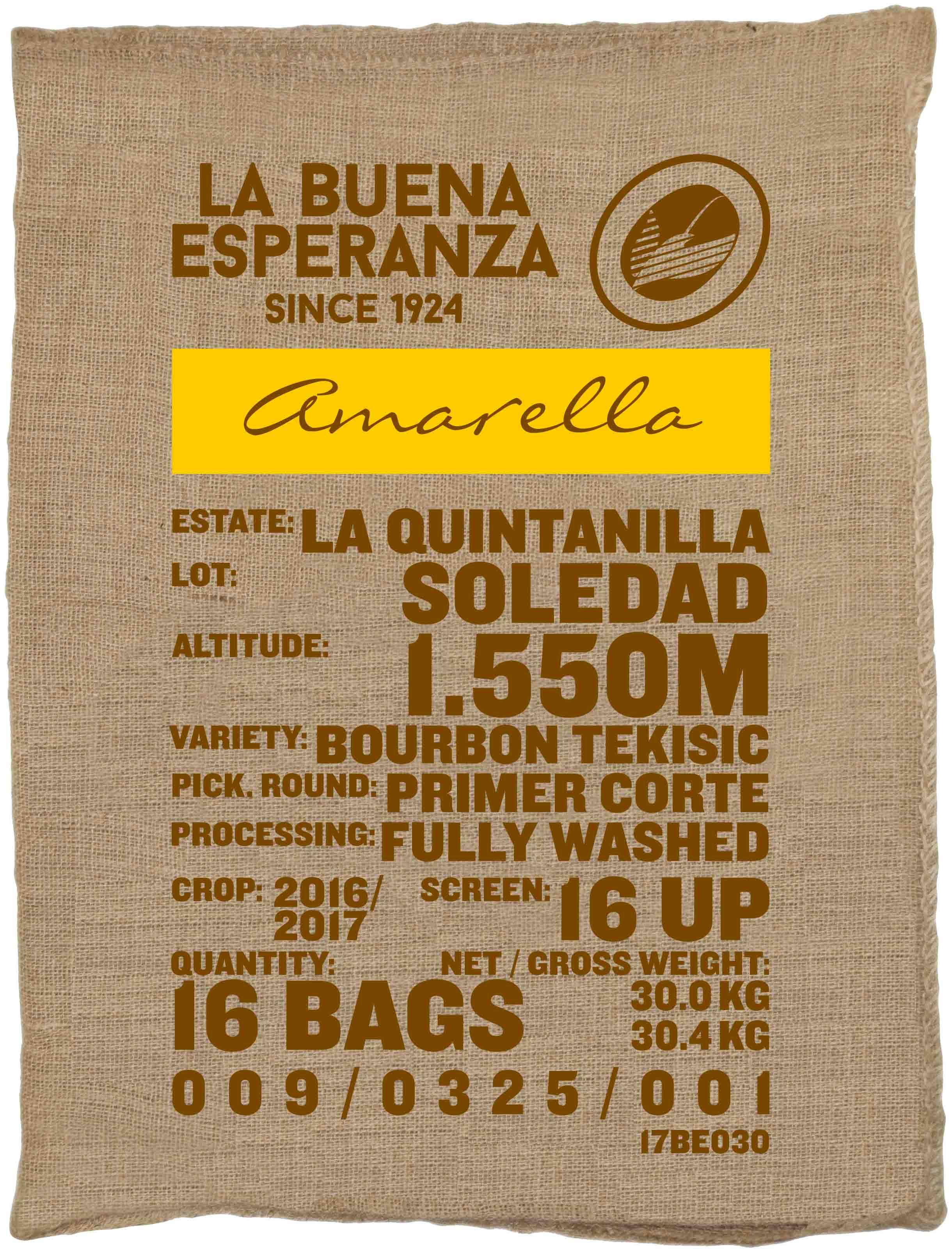 Ein Rohkaffeesack amarella Parzellenkaffee Varietät Bourbon Tekisic. Finca La Buena Esperanza Lot Soledad.