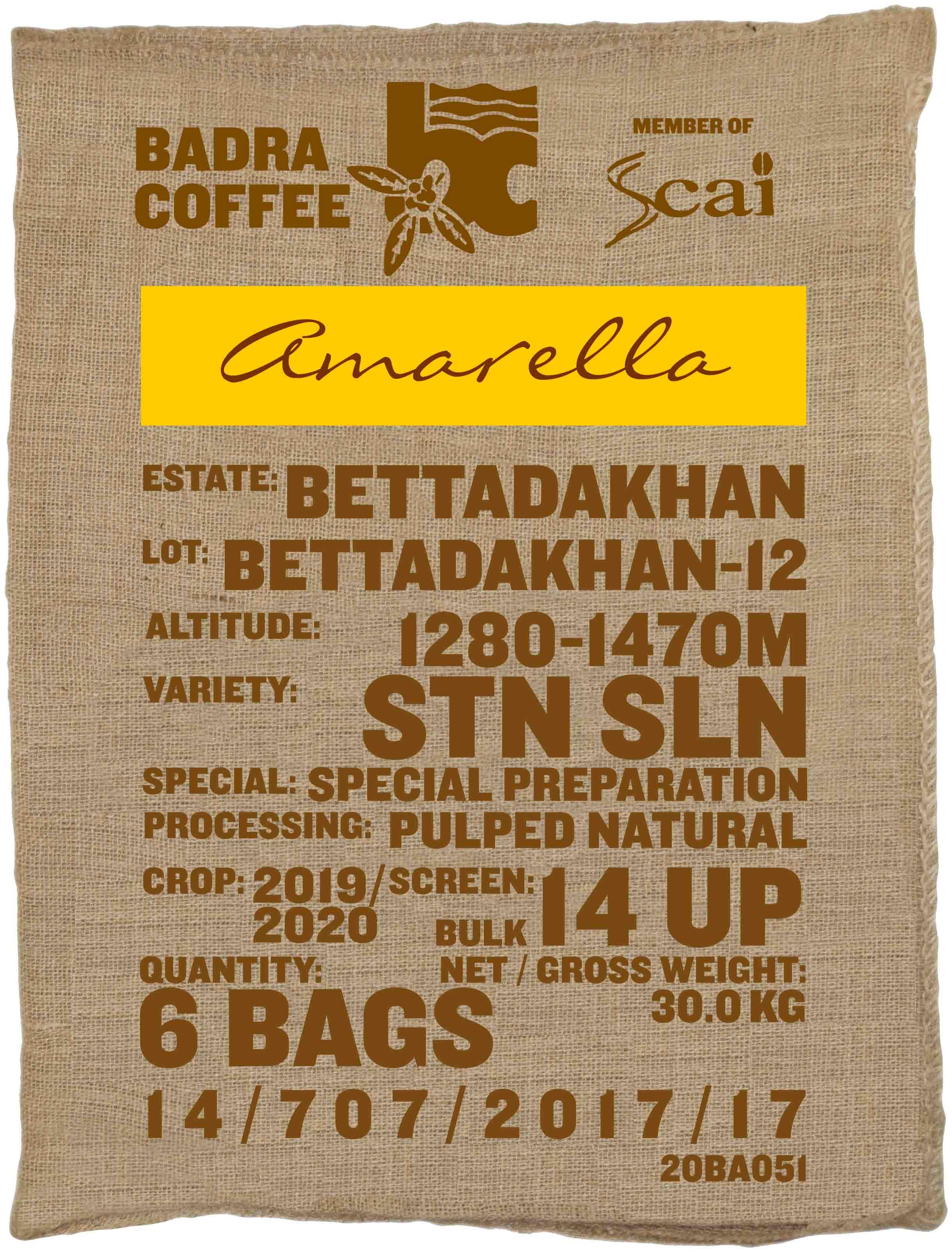 Ein Rohkaffeesack amarella Parzellenkaffee Varietät STN SLN. Badra Estates Lot Bettadakhan 12.
