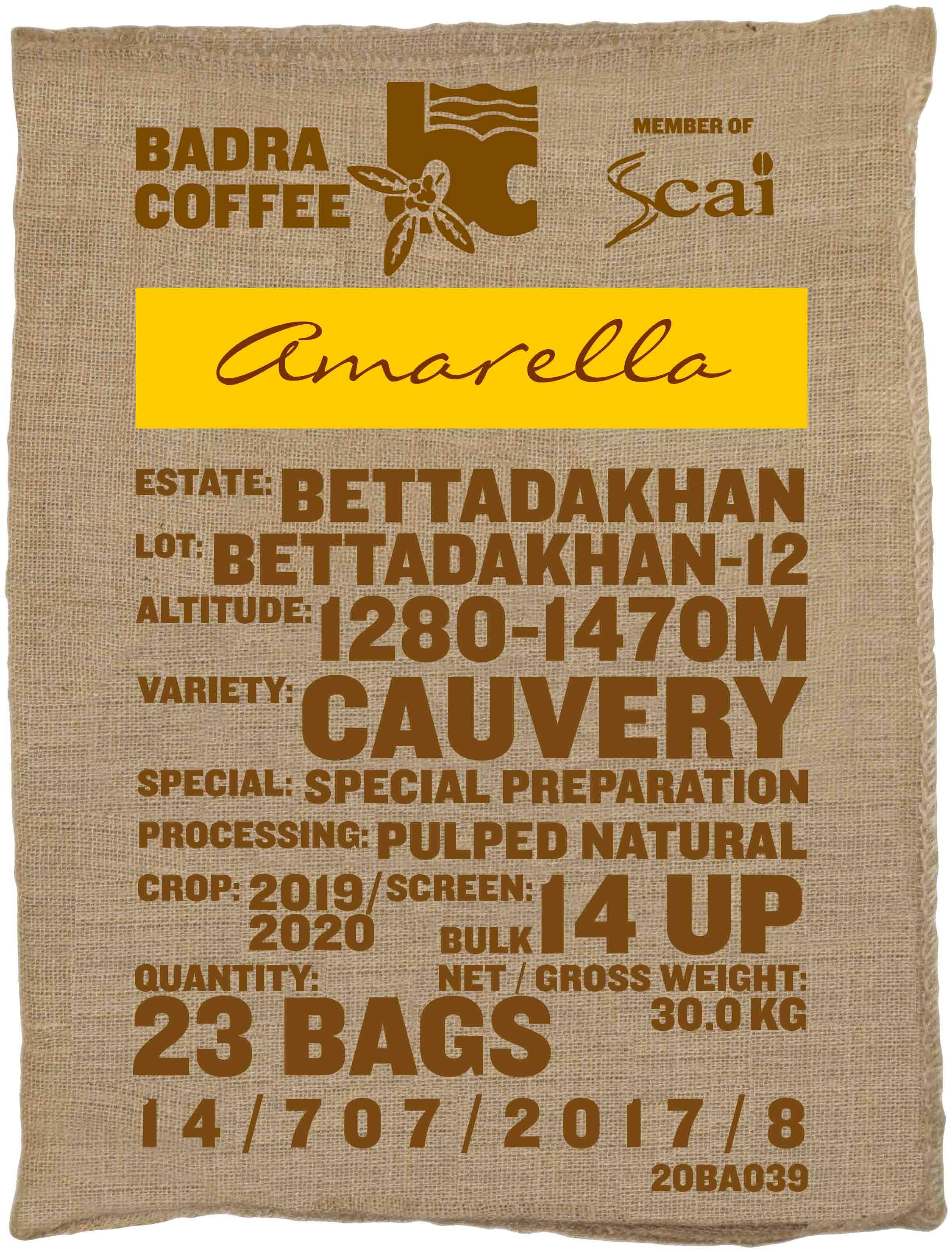 Ein Rohkaffeesack amarella Parzellenkaffee Varietät Cauvery. Badra Estates Lot Bettadakhan 12.