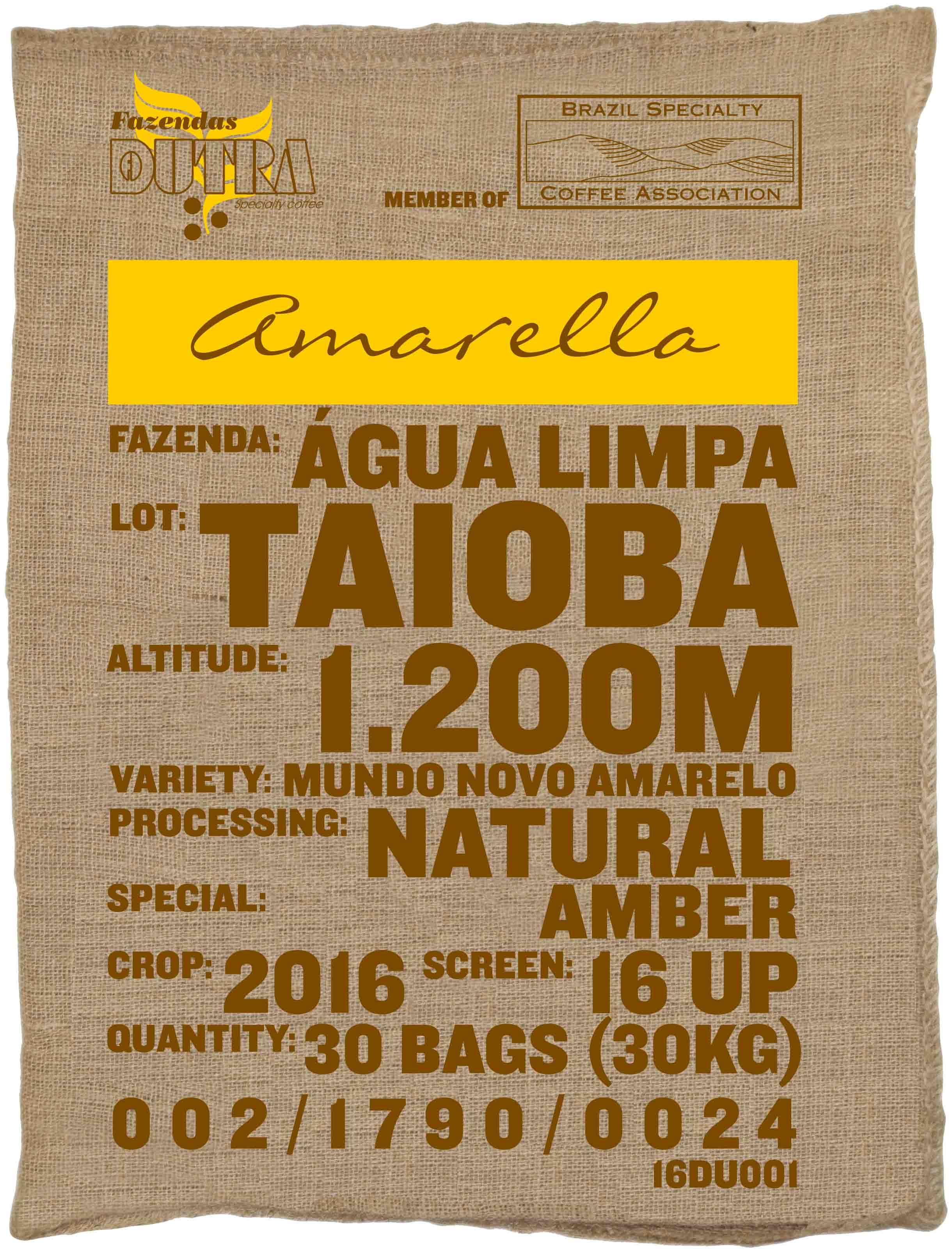 Ein Rohkaffeesack amarella Parzellenkaffee Varietät Mundo Novo amarelo. Fazendas Dutra Lot Taioba.