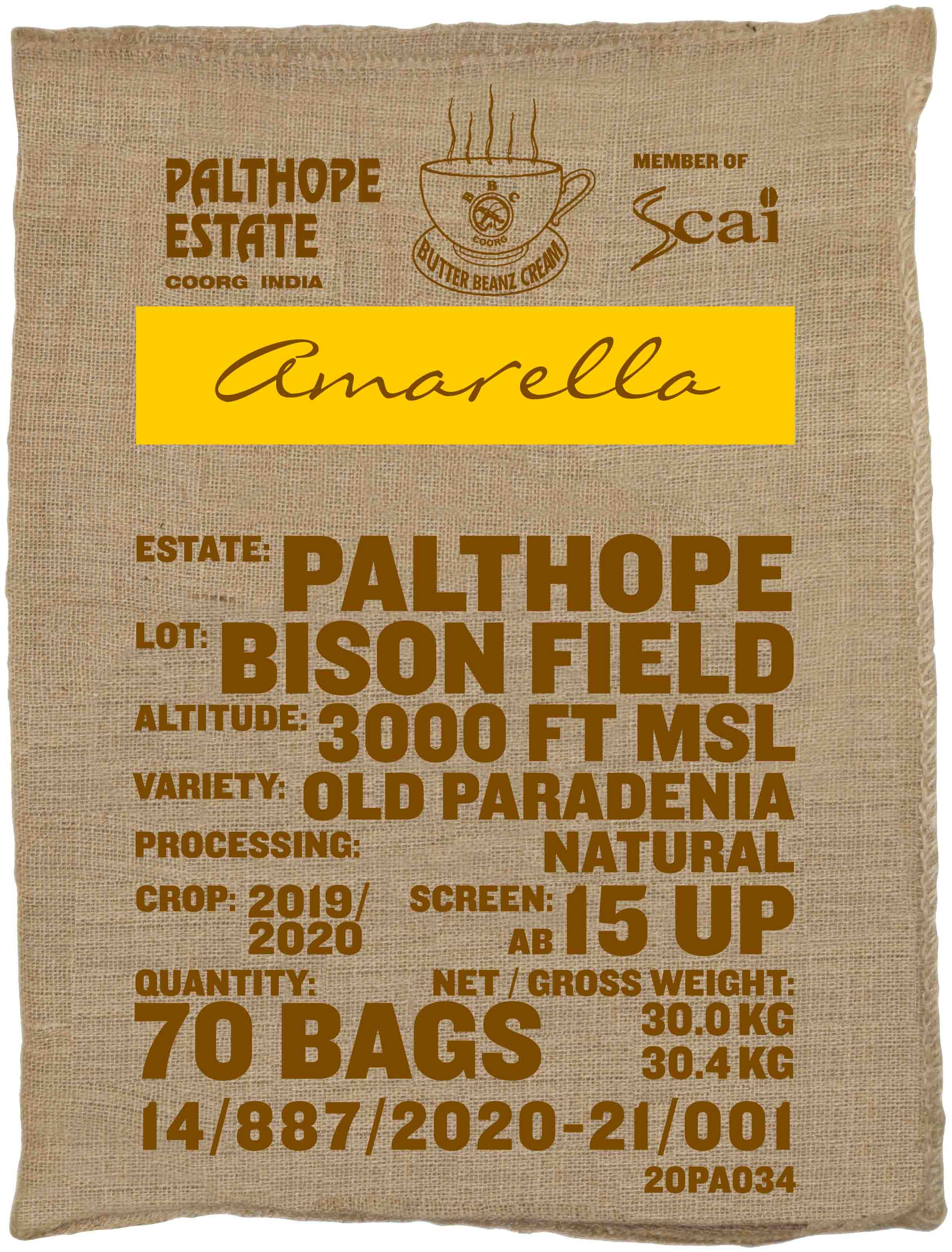 Ein Sack amarella Parzellenkaffee Varietät Old Paradenia. Palthope Estate Lot Bison Field.