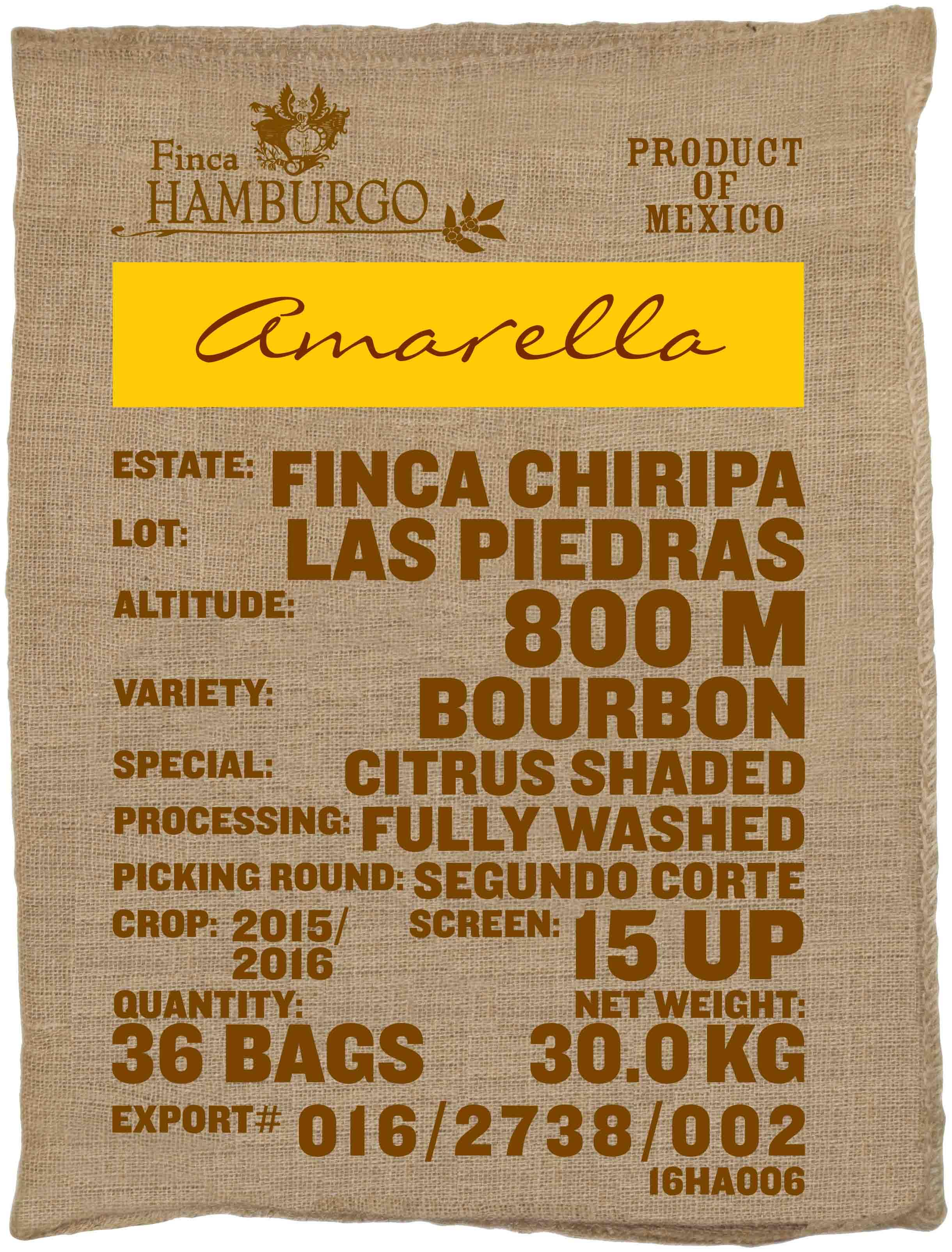 Ein Rohkaffeesack amarella Parzellenkaffee Varietät Bourbon. Finca Chiripa Lot Las Piedras.