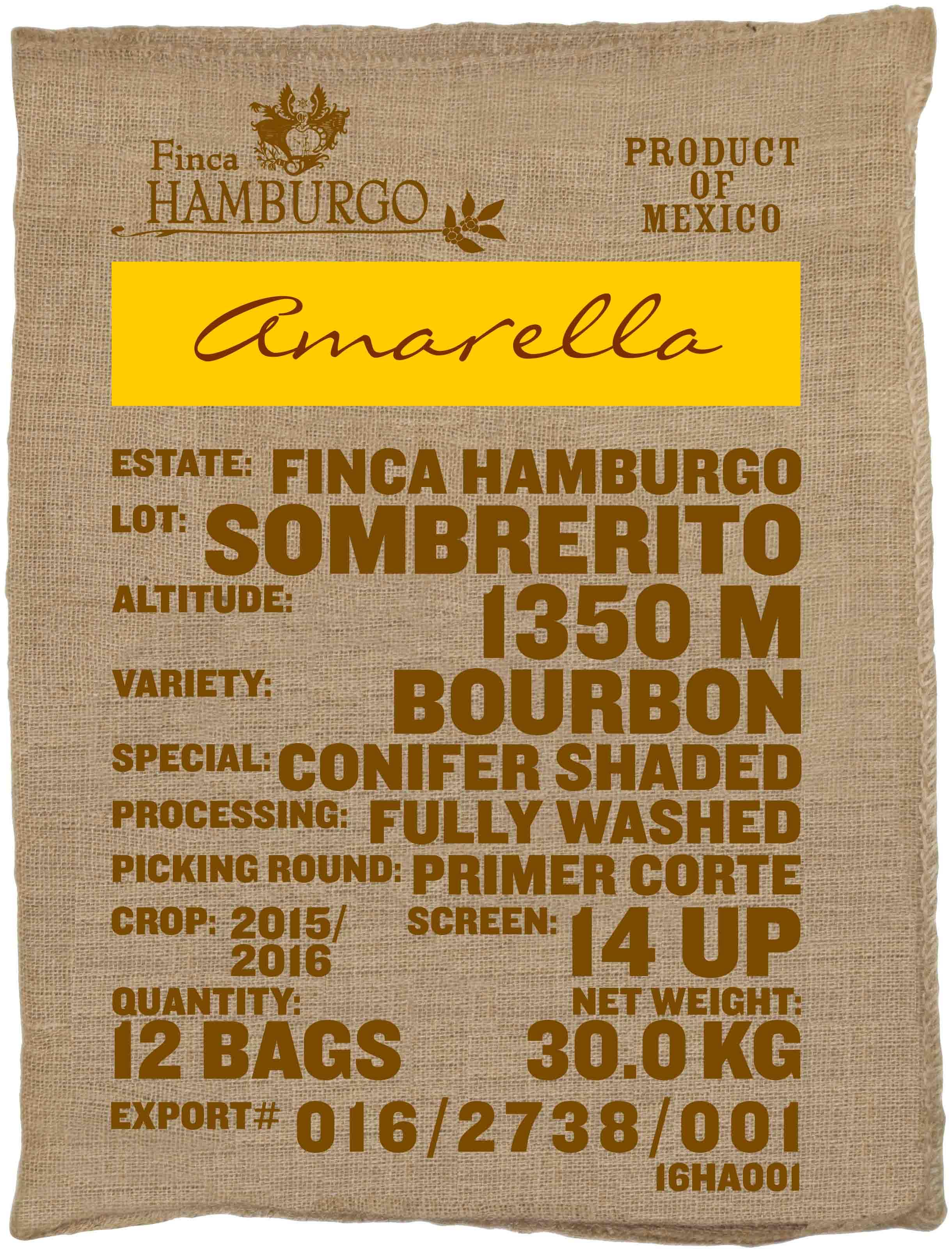 Ein Rohkaffeesack amarella Parzellenkaffee Varietät Bourbon. Finca Hamburgo Lot Sombrerito.