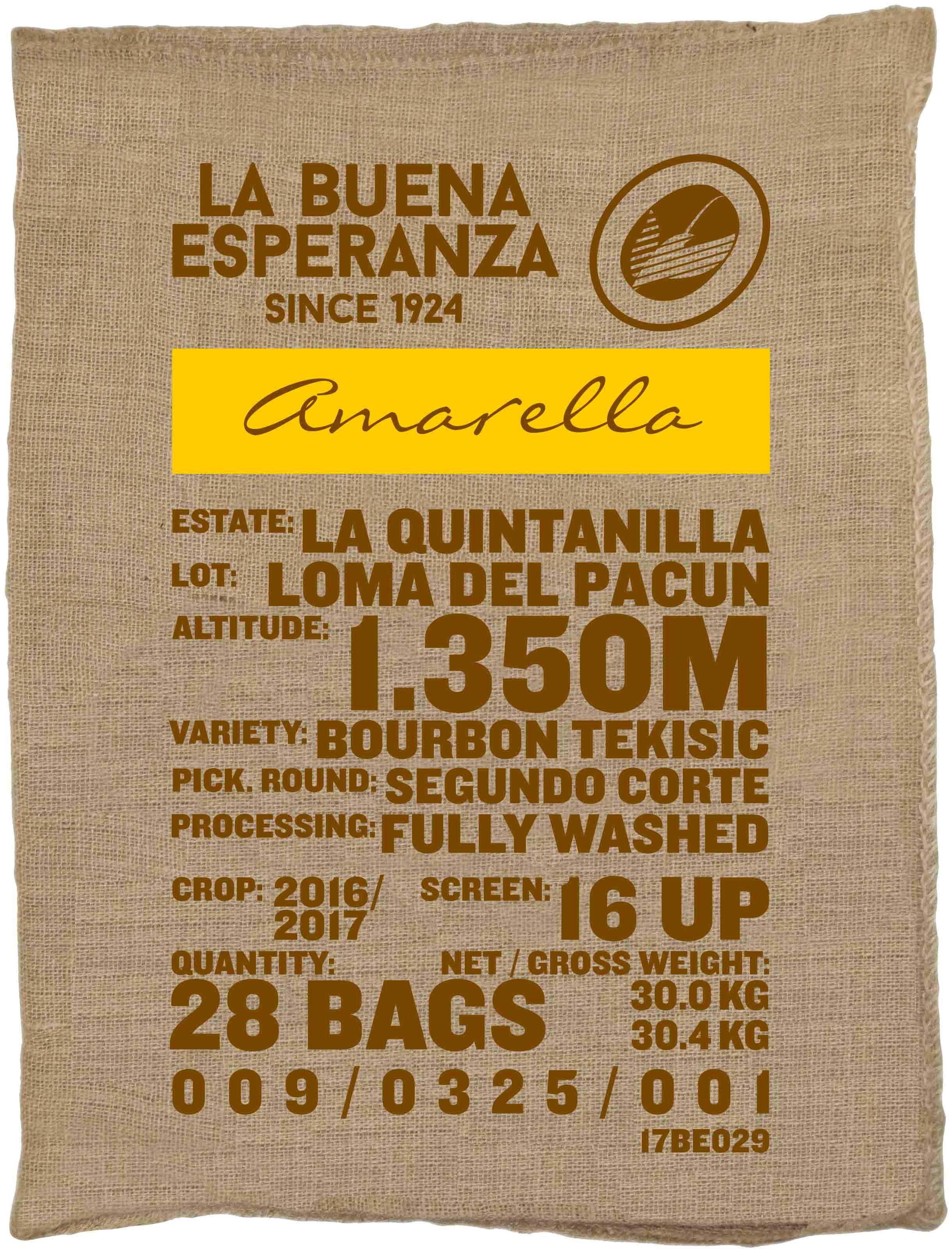 Ein Rohkaffeesack amarella Parzellenkaffee Varietät Bourbon Tekisic. Finca La Buena Esperanza Lot Loma del Pacun.