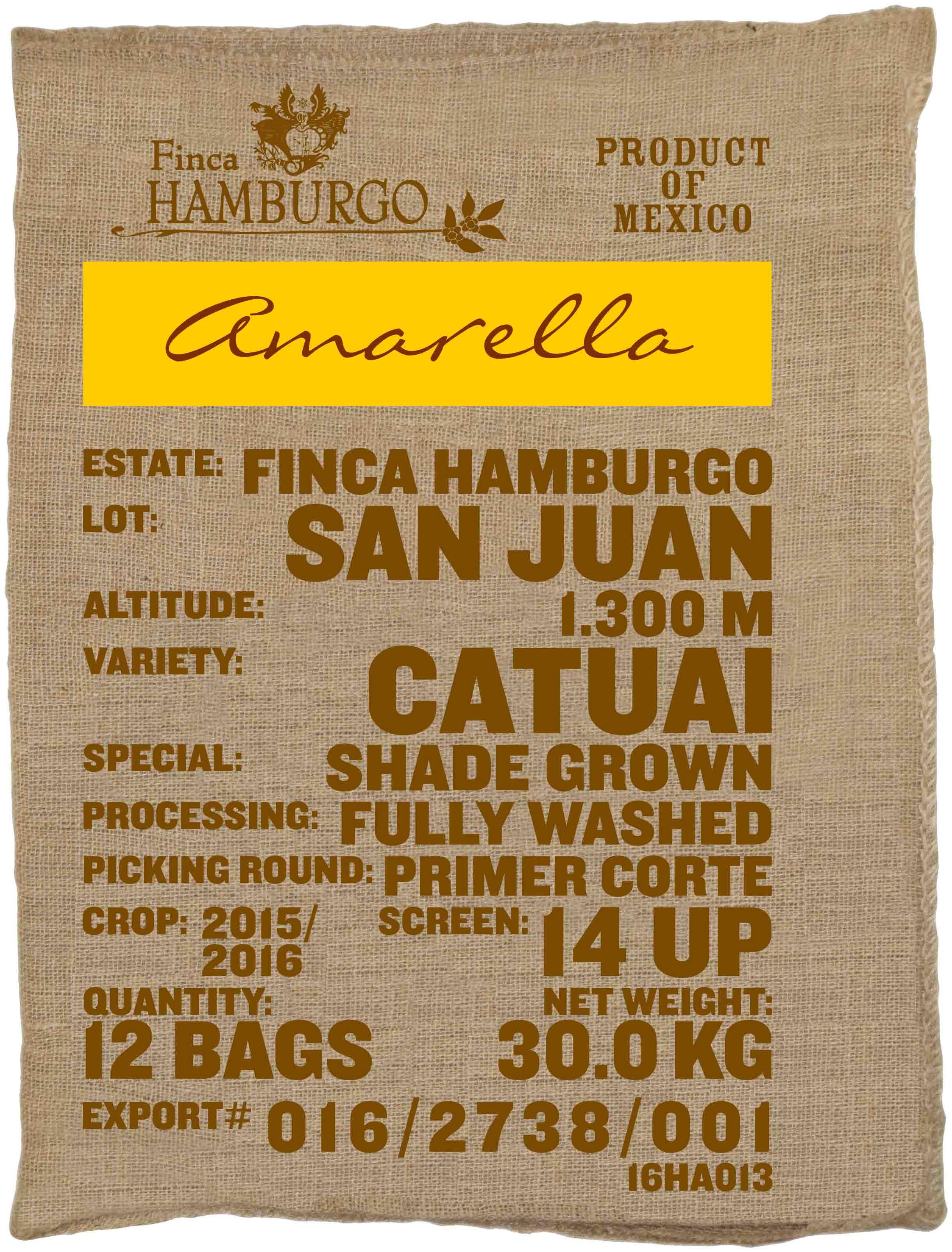Ein Rohkaffeesack amarella Parzellenkaffee Varietät Catuai. Finca Hamburgo Lot San Juan.