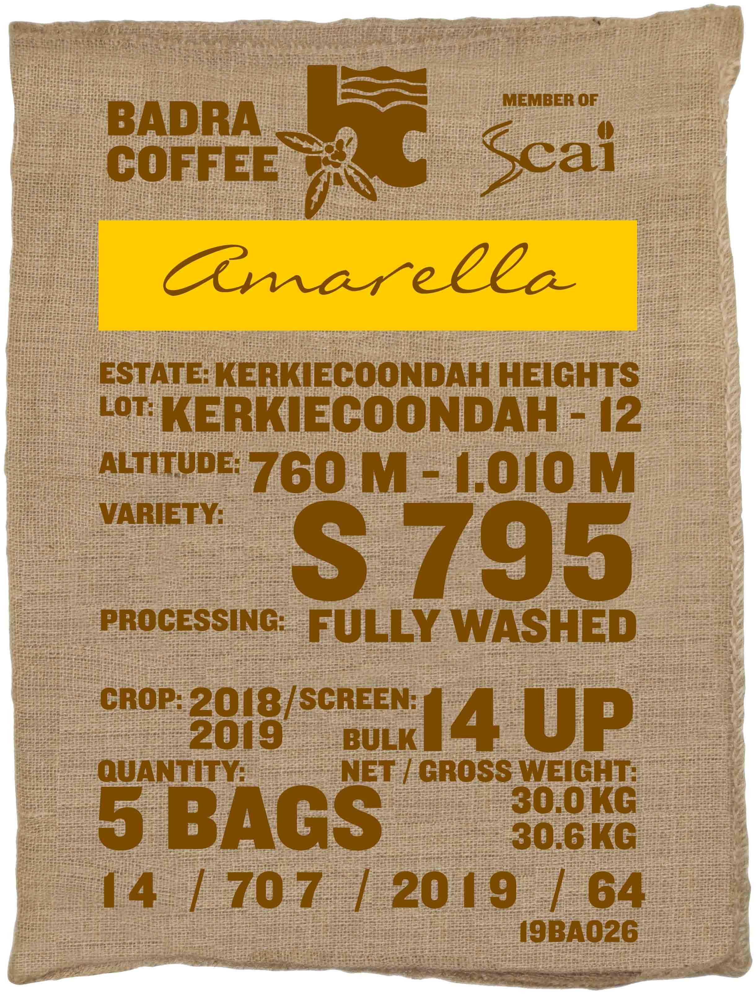 Ein Rohkaffeesack amarella Parzellenkaffee Varietät S795. Badra Estates Lot Kerkiecoondah 12.
