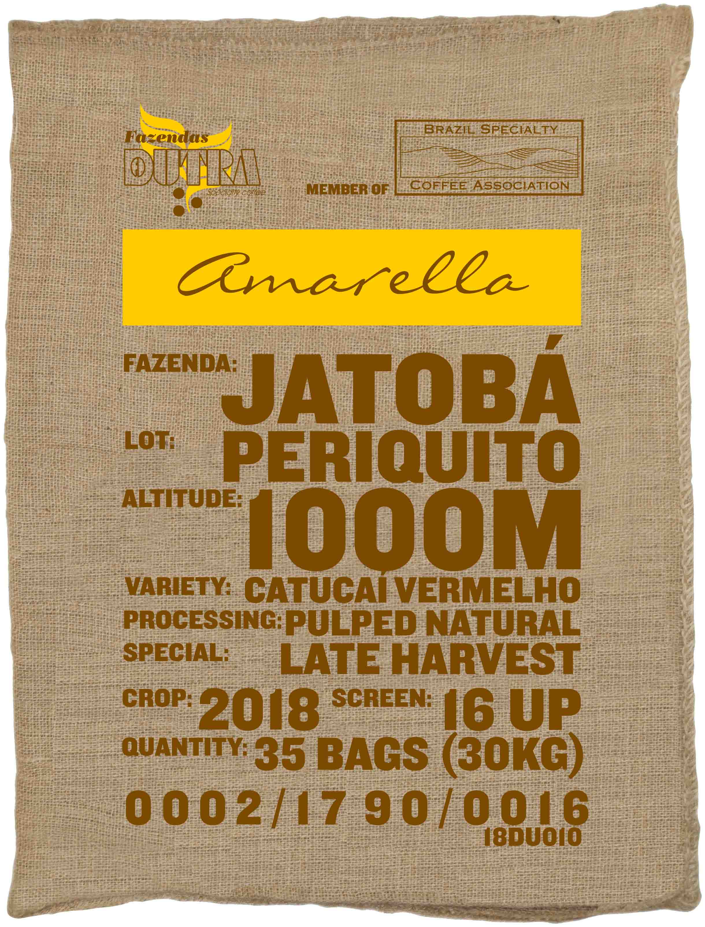 Ein Rohkaffeesack amarella Parzellenkaffee Varietät Catucai vermelho. Fazendas Dutra Lot Periquito.