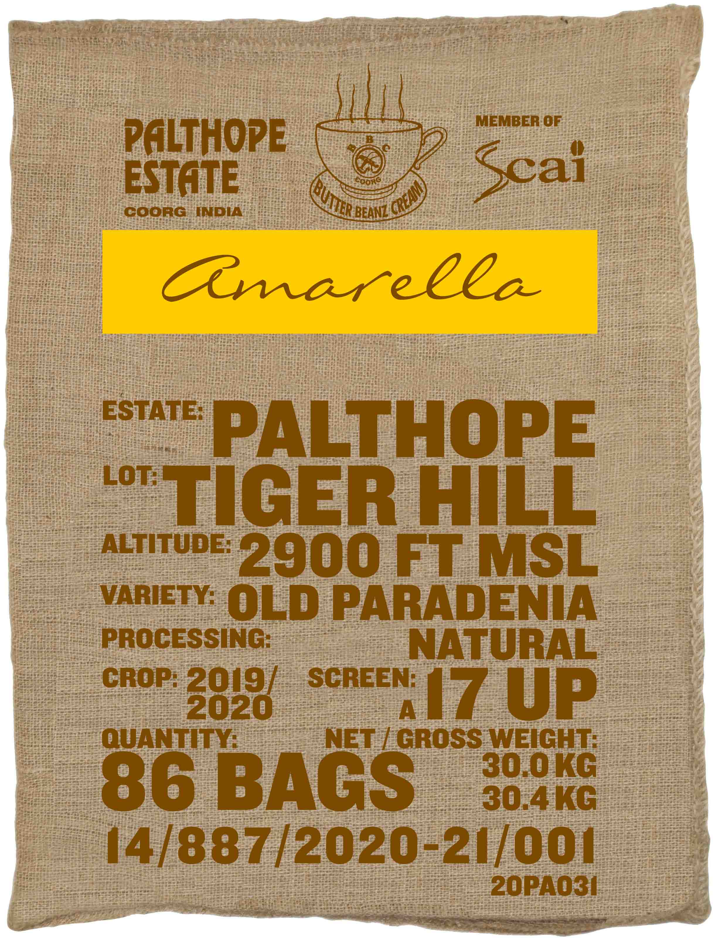 Ein Sack amarella Parzellenkaffee Varietät Old Paradenia. Palthope Estate Lot Tiger Hill.