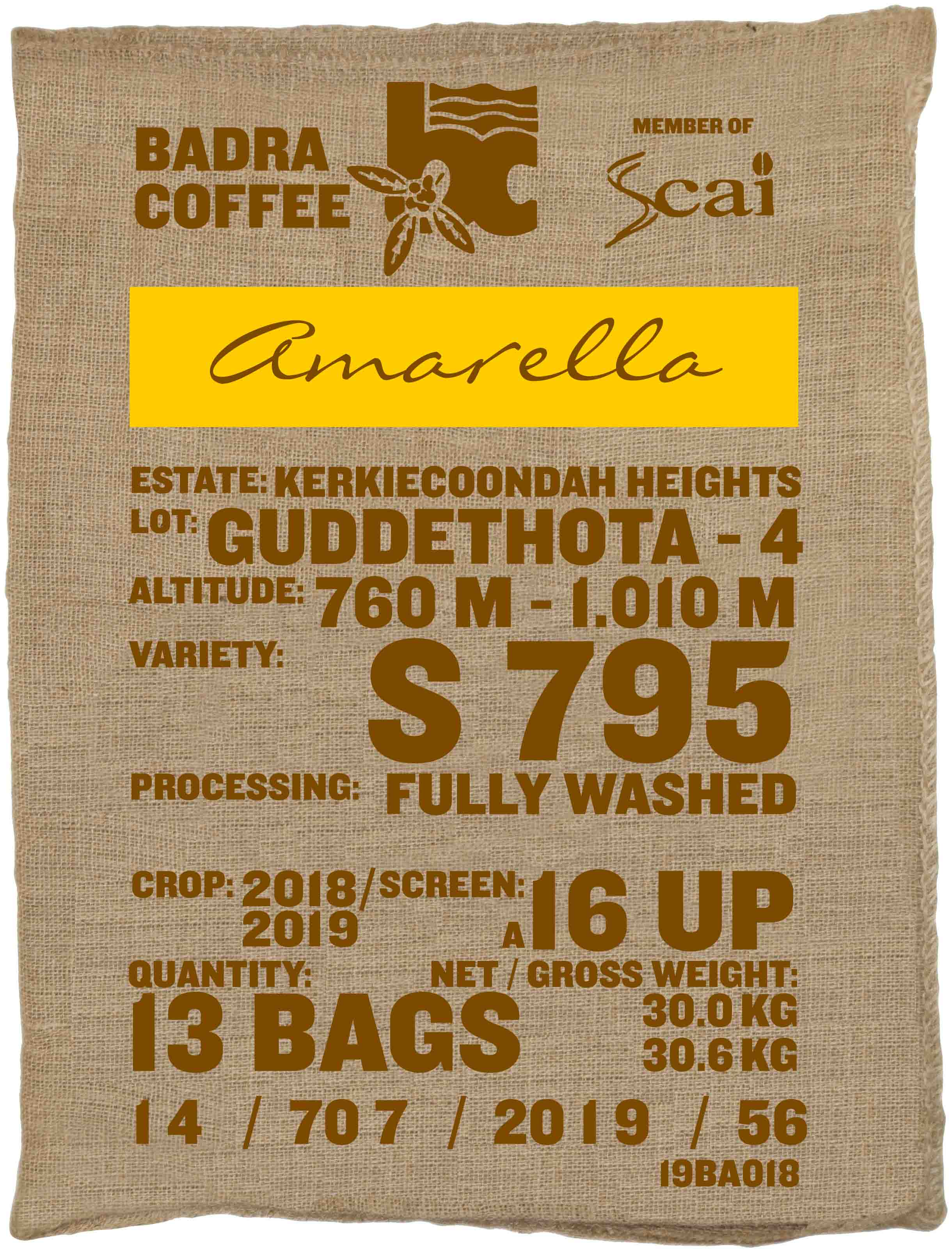 Ein Sack amarella Rohkaffee Varietät S795. Badra Estates Lot Guddethota 4.