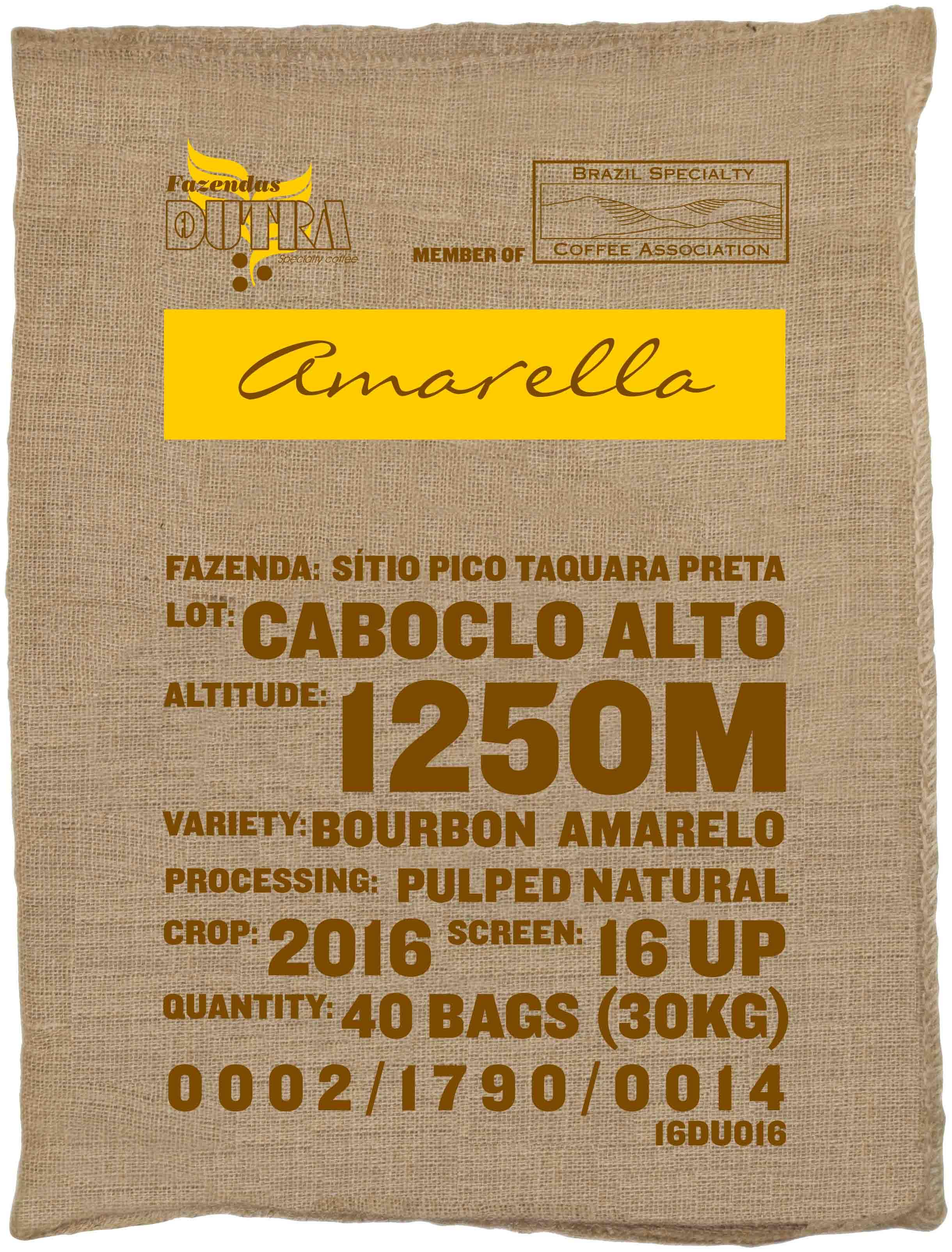 Ein Rohkaffeesack amarella Parzellenkaffee Varietät Bourbon amarelo. Fazendas Dutra Lot Caboclo Alto.
