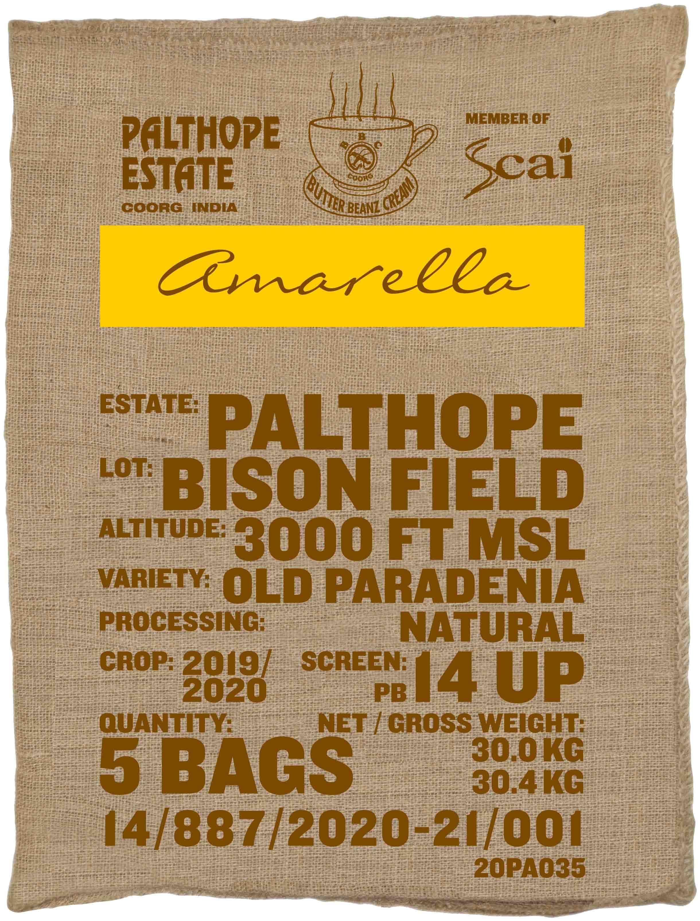 Ein Sack amarella Parzellenkaffee Varietät Old Paradenia Perlbohne. Palthope Estate Lot Bison Field
