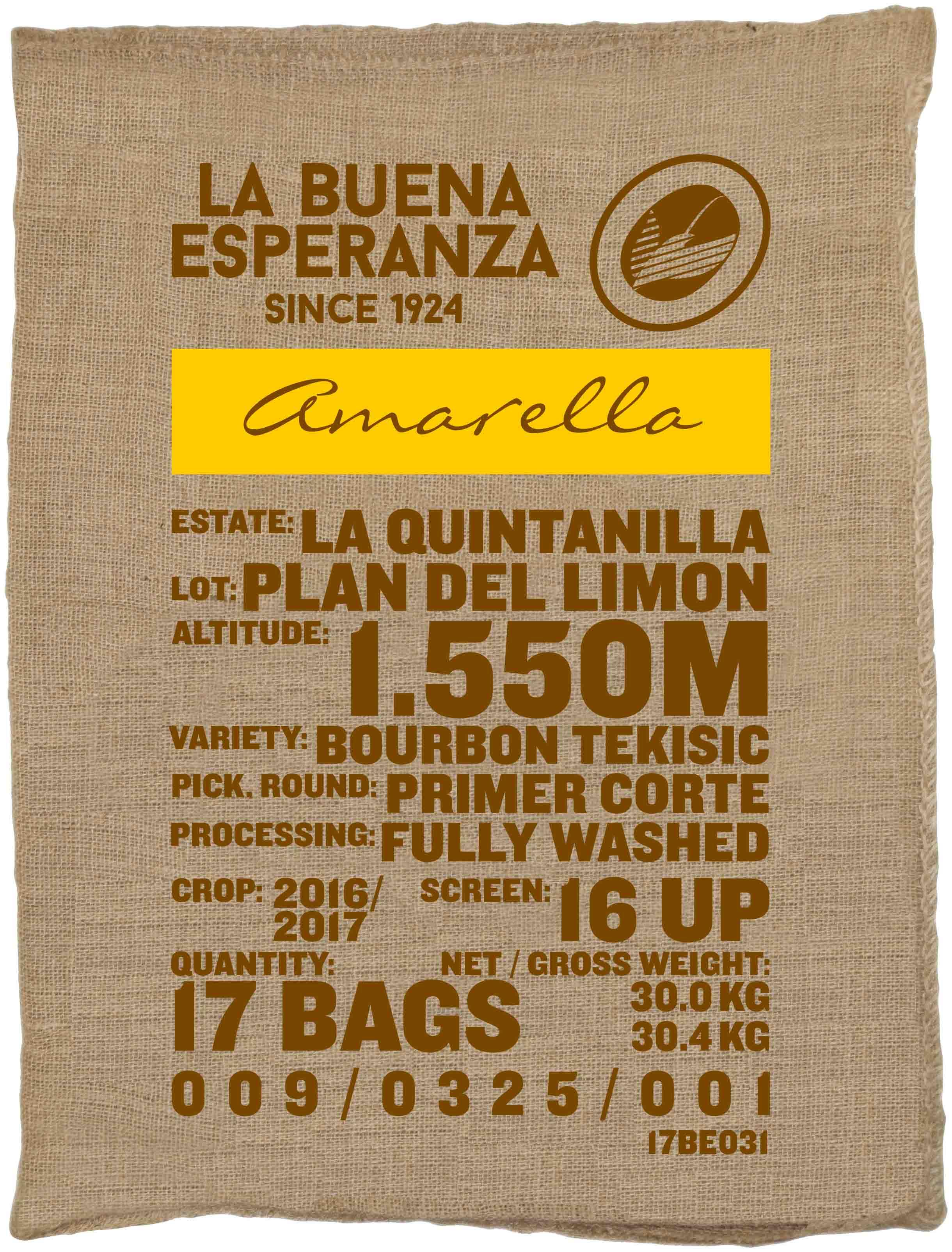 Ein Rohkaffeesack amarella Parzellenkaffee Varietät Bourbon Tekisic. Finca La Buena Esperanza Lot Plan del Limon.