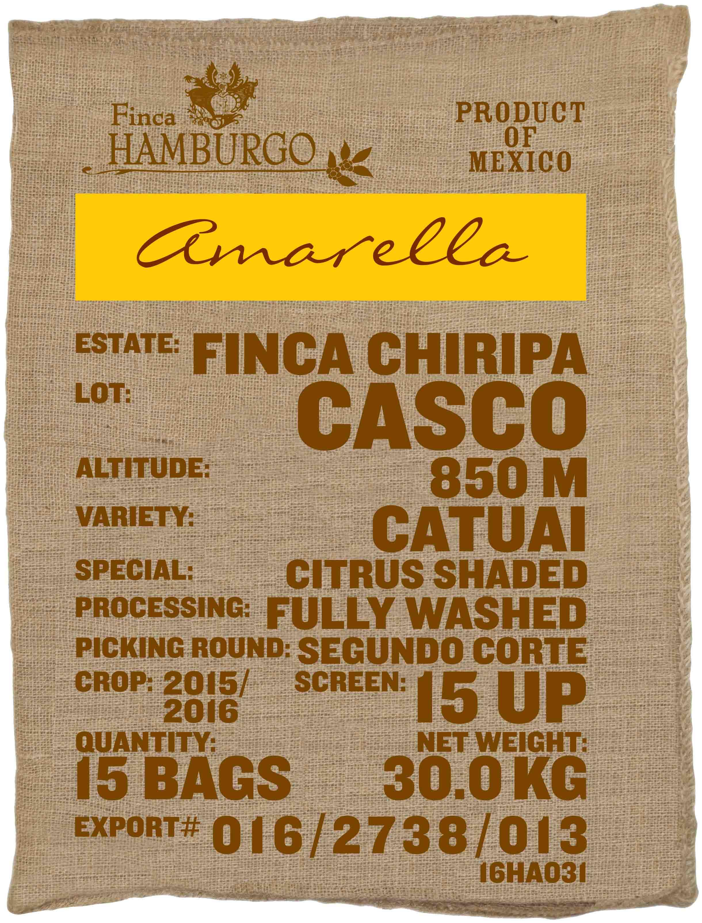 Ein Rohkaffeesack amarella Parzellenkaffee Varietät Catuai. Finca Chiripa Lot Casco.
