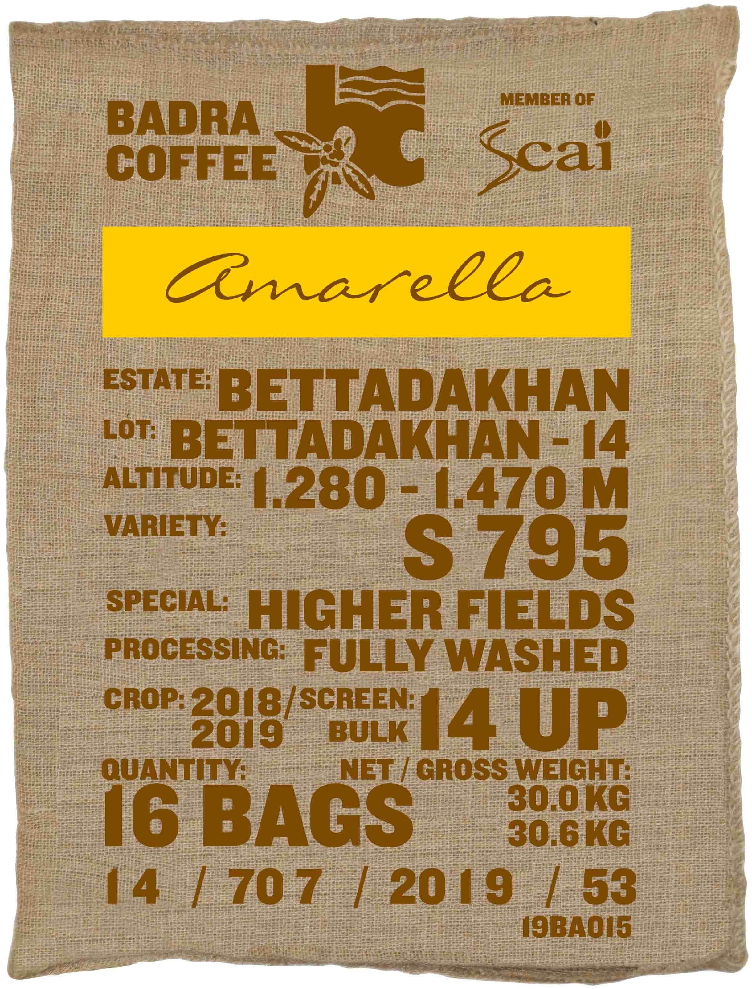 Ein Rohkaffeesack amarella Parzellenkaffee Varietät S795 Higher Fields. Badra Estates Lot Bettadakhan 14.