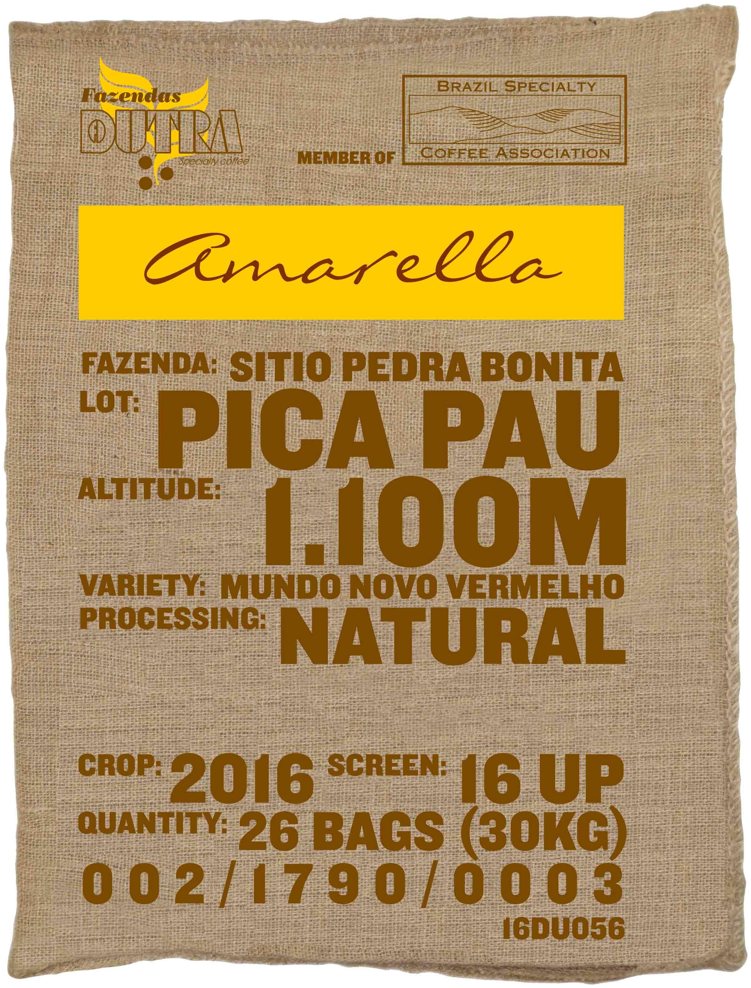 Ein Rohkaffeesack amarella Parzellenkaffee Varietät Mundo Novo vermelho. Fazendas Dutra Lot Pica Pau.