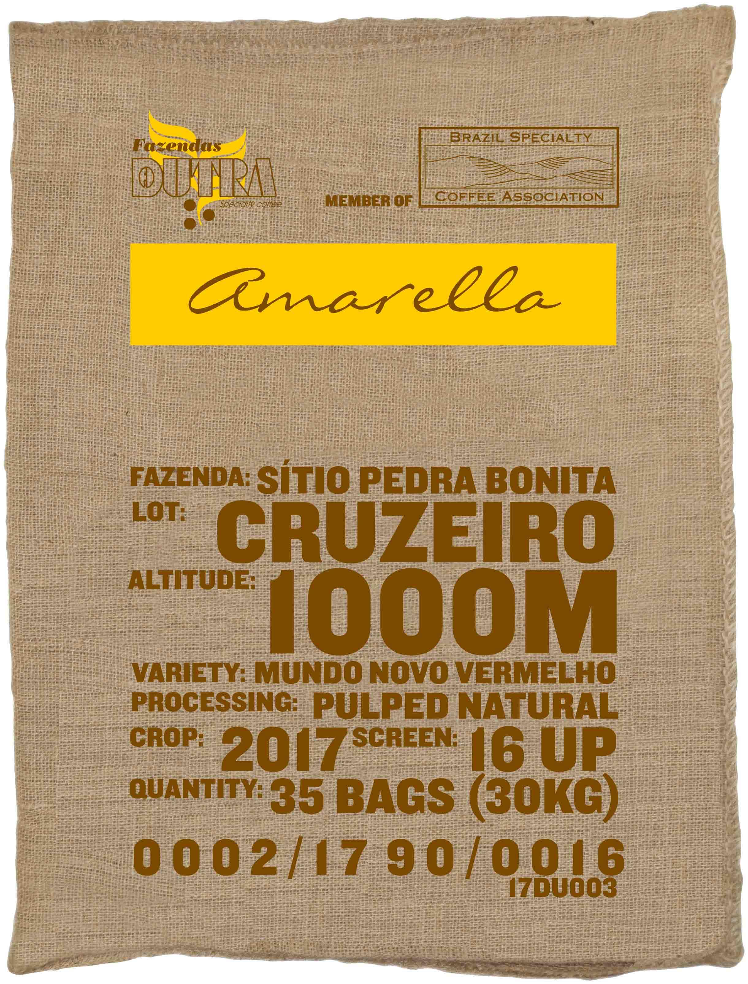 Ein Rohkaffeesack amarella Parzellenkaffee Varietät Mundo Novo vermelho. Fazendas Dutra Lot Cruzeiro.
