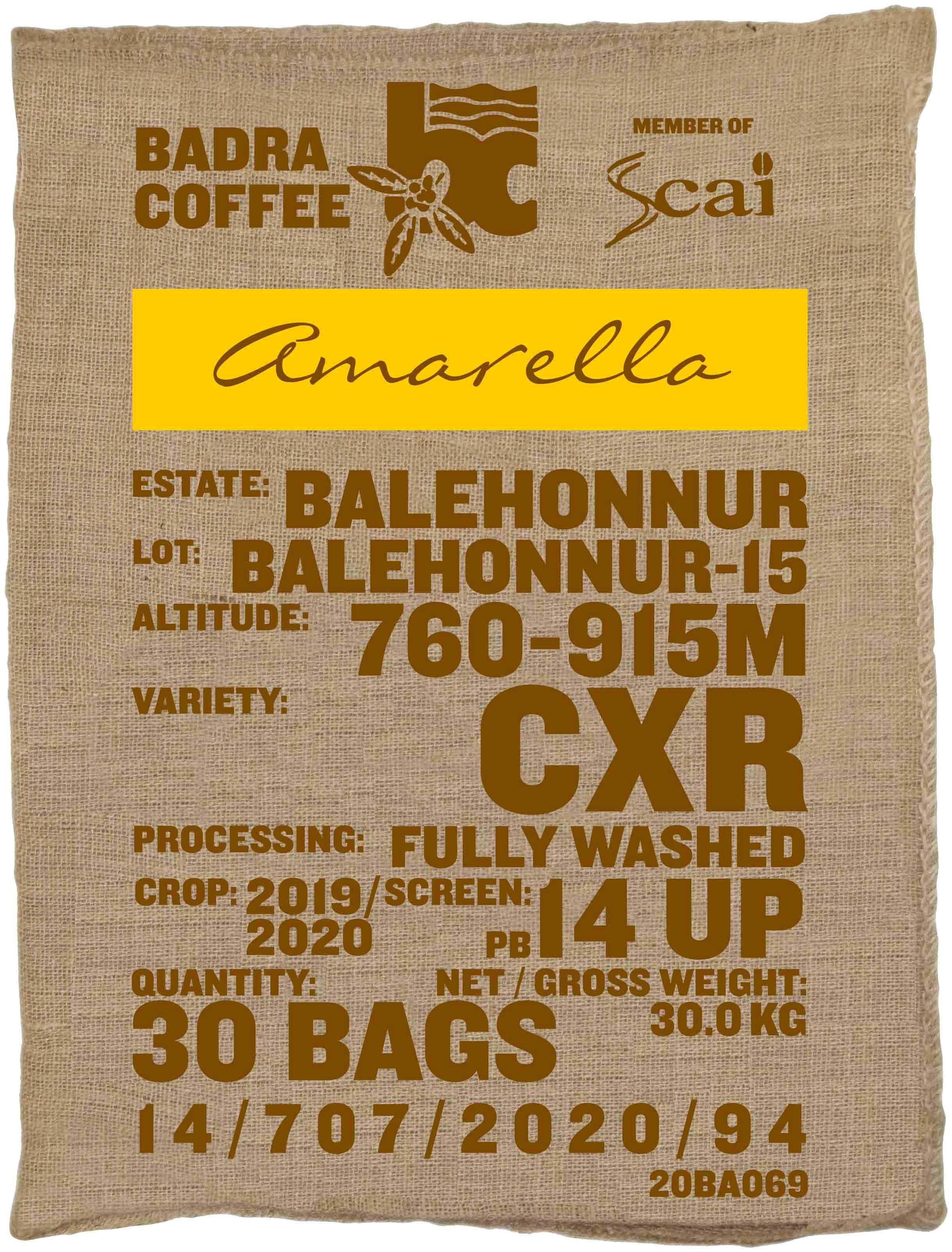 Ein Rohkaffeesack amarella Rohkaffee Varietät CxR. Badra Estates Lot Balehonnur 15.