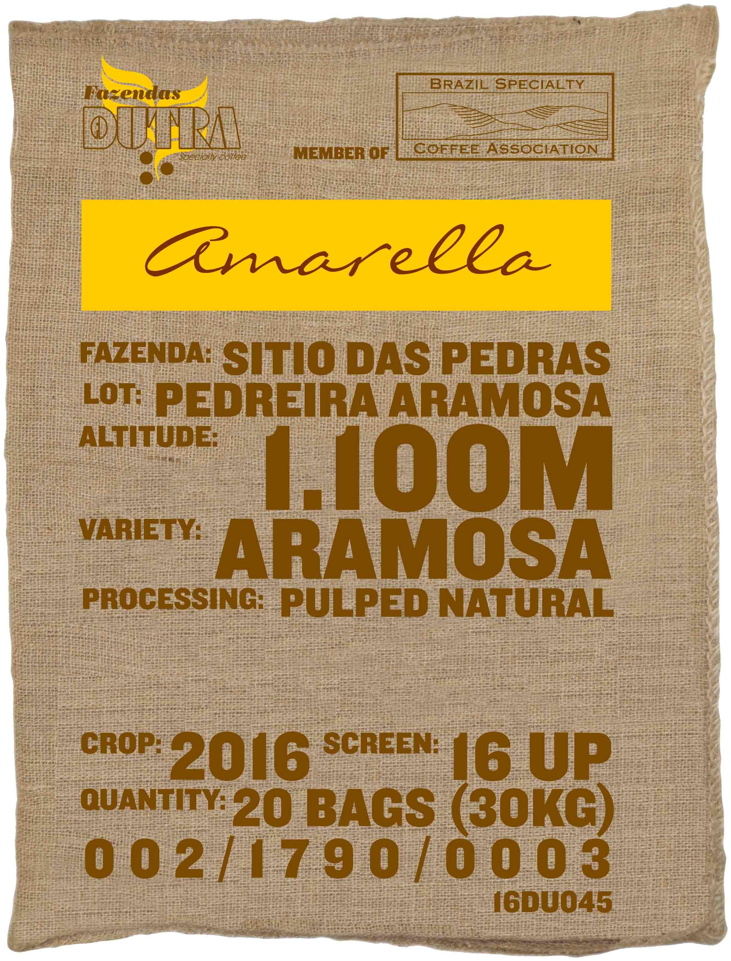 Ein Rohkaffeesack amarella Parzellenkaffee Varietät Aramosa. Fazendas Dutra Lot Pedreira Aramosa.