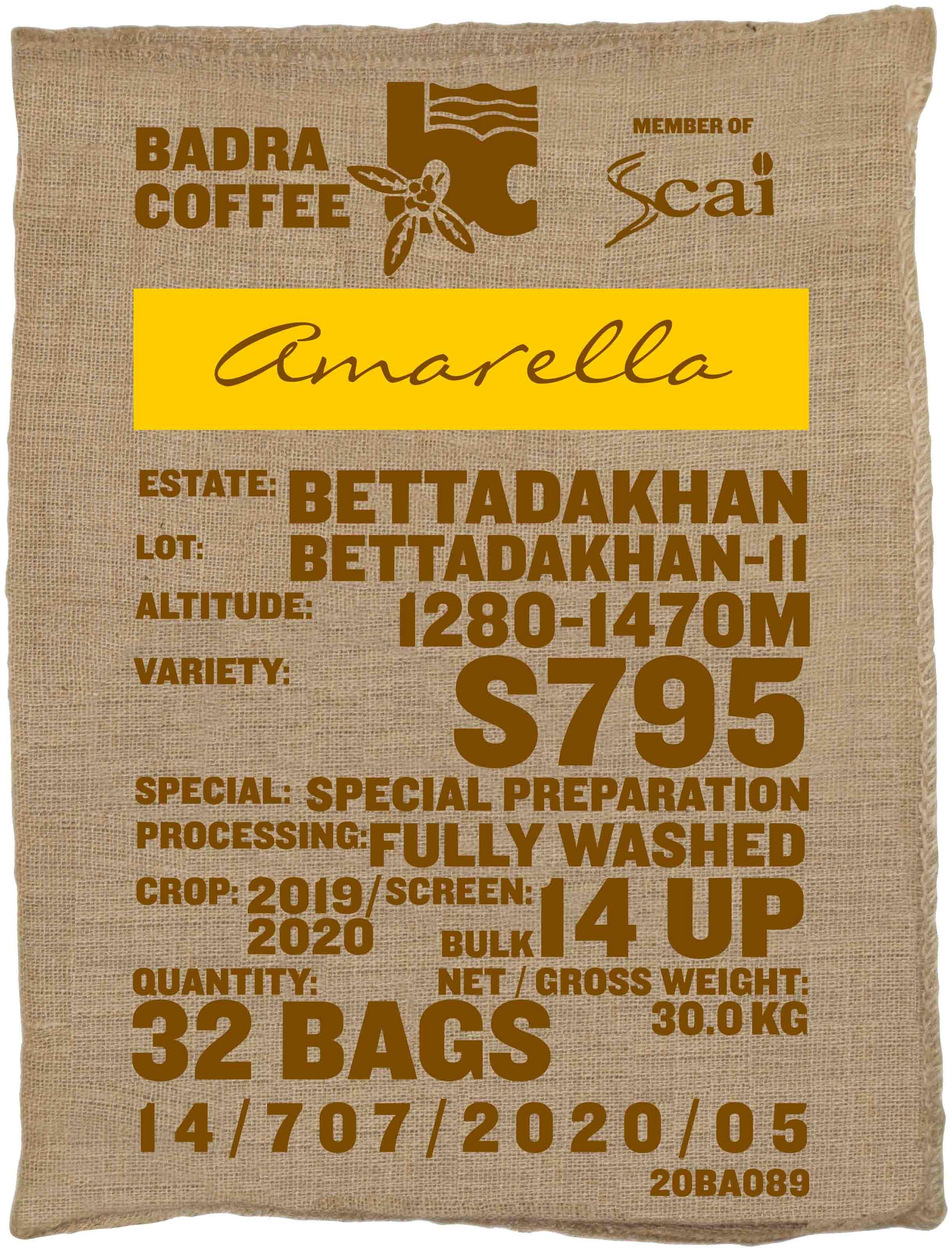 Ein Rohkaffeesack amarella Parzellenkaffee Varietät S795. Badra Estates Lot Bettadakhan 11.