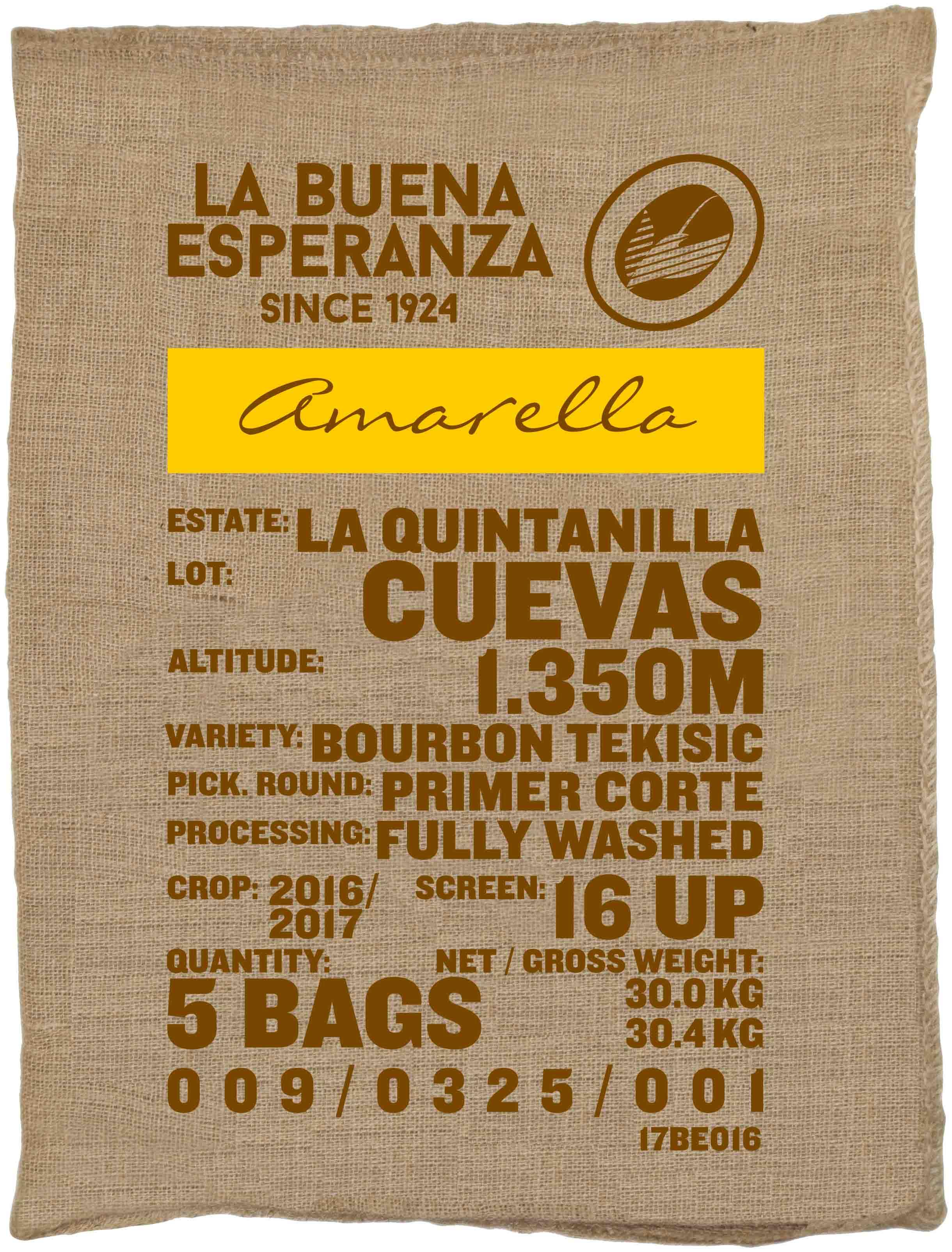 Ein Rohkaffeesack amarella Parzellenkaffee Varietät Bourbon Tekisic. Finca La Buena Esperanza Lot Cuevas.