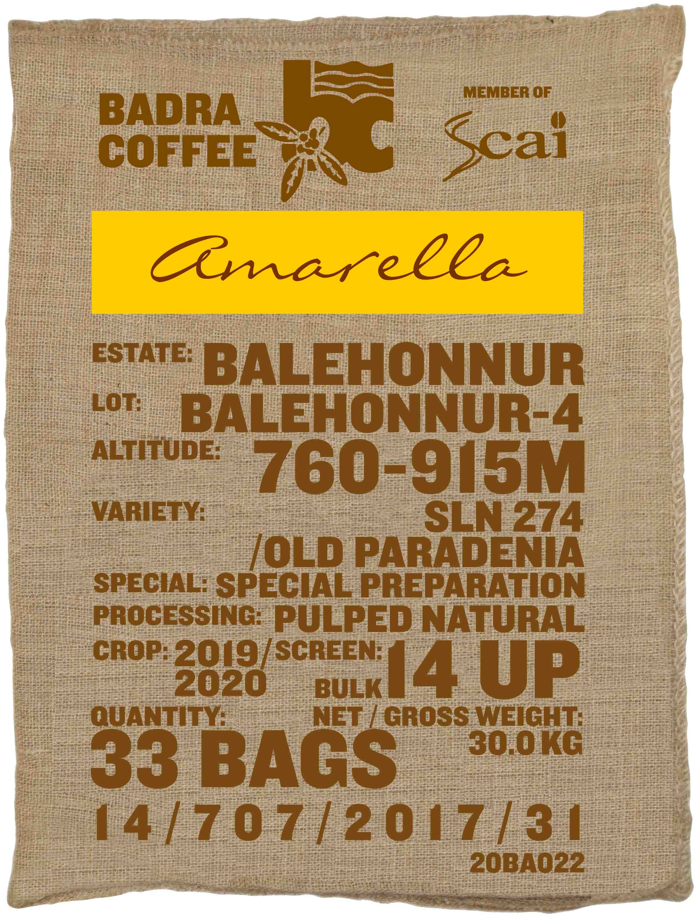 Ein Rohkaffeesack amarella Parzellenkaffee Varietät SLN 274/Old Paradenia. Badra Estates Lot Balehonnur 4.