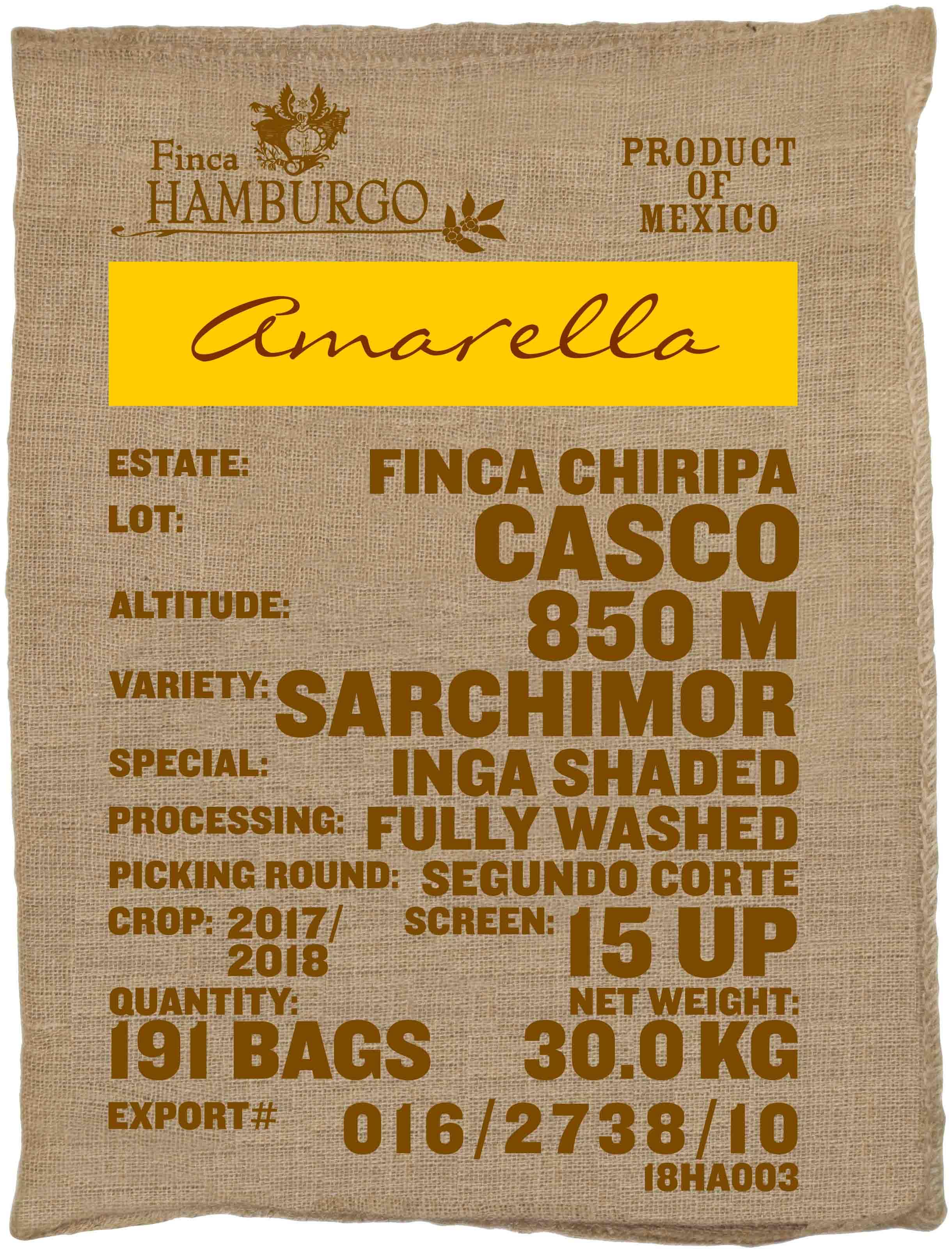 Ein Rohkaffeesack amarella Parzellenkaffee Varietät Sarchimor. Finca Chiripa Lot Casco.