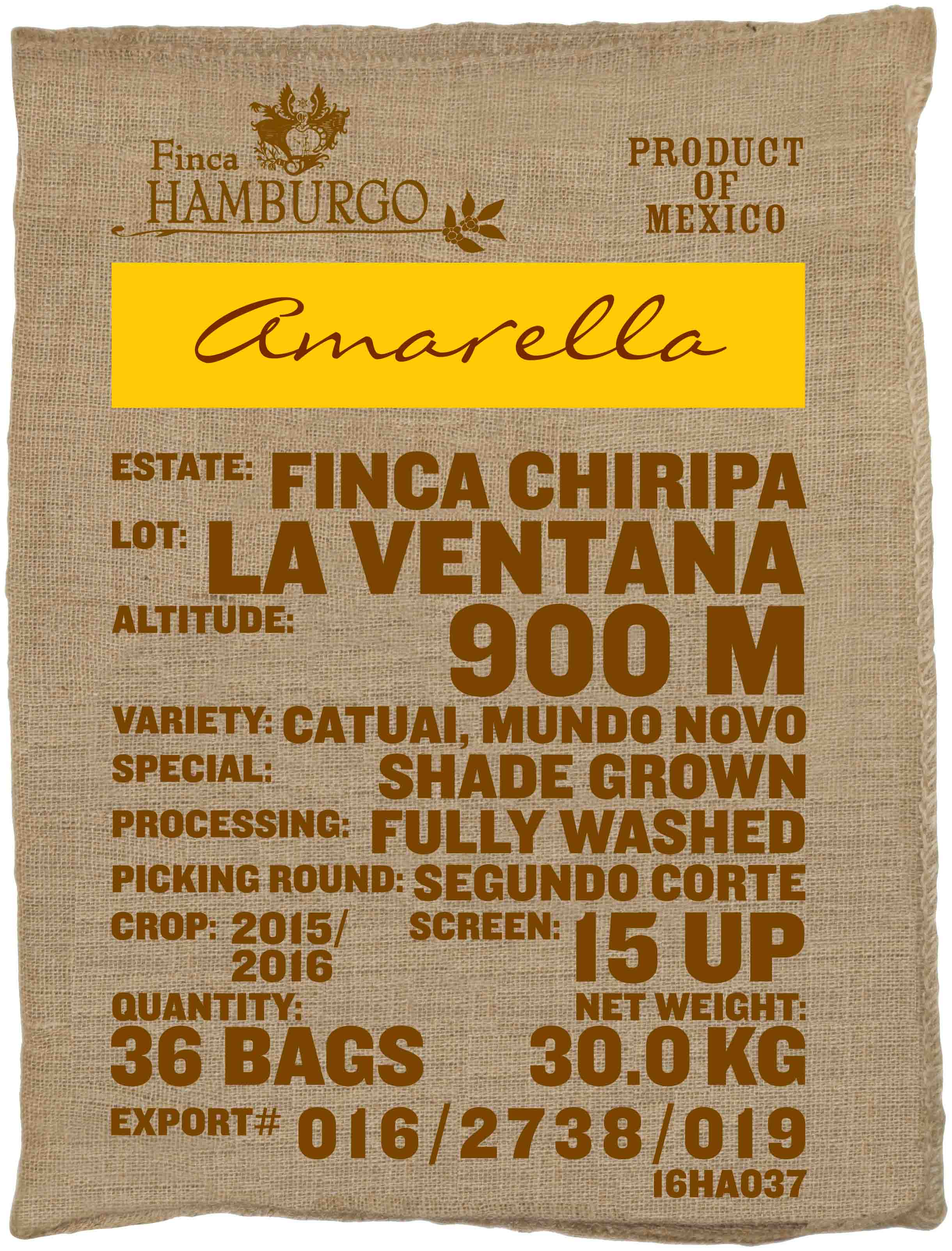 Ein Rohkaffeesack amarella Parzellenkaffee Varietät Catuai, Mundo Novo. Finca Chiripa Lot La Ventana.