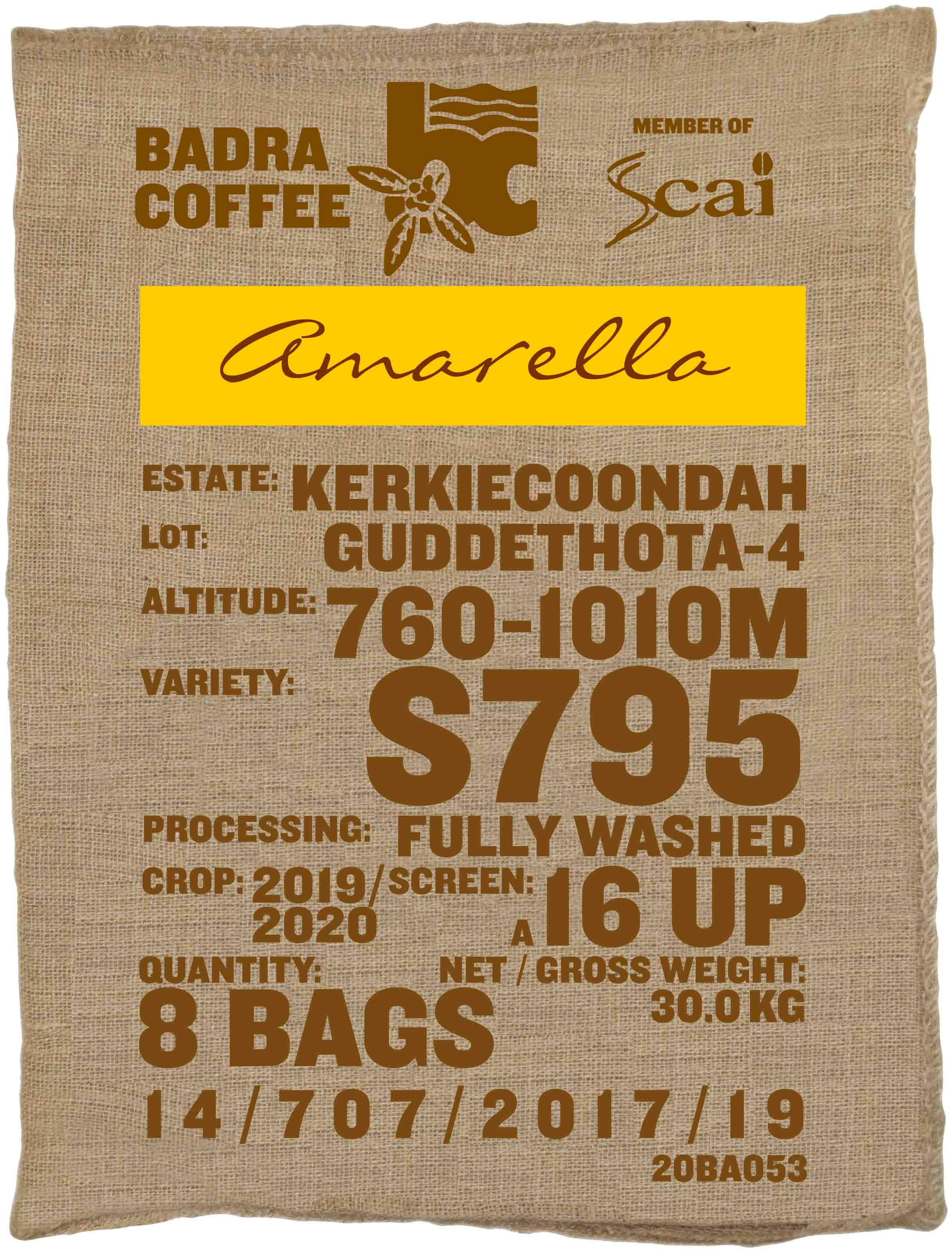 Ein Rohkaffeesack amarella Parzellenkaffe Varietät S795. Badra Estates Lot Guddethota 4.