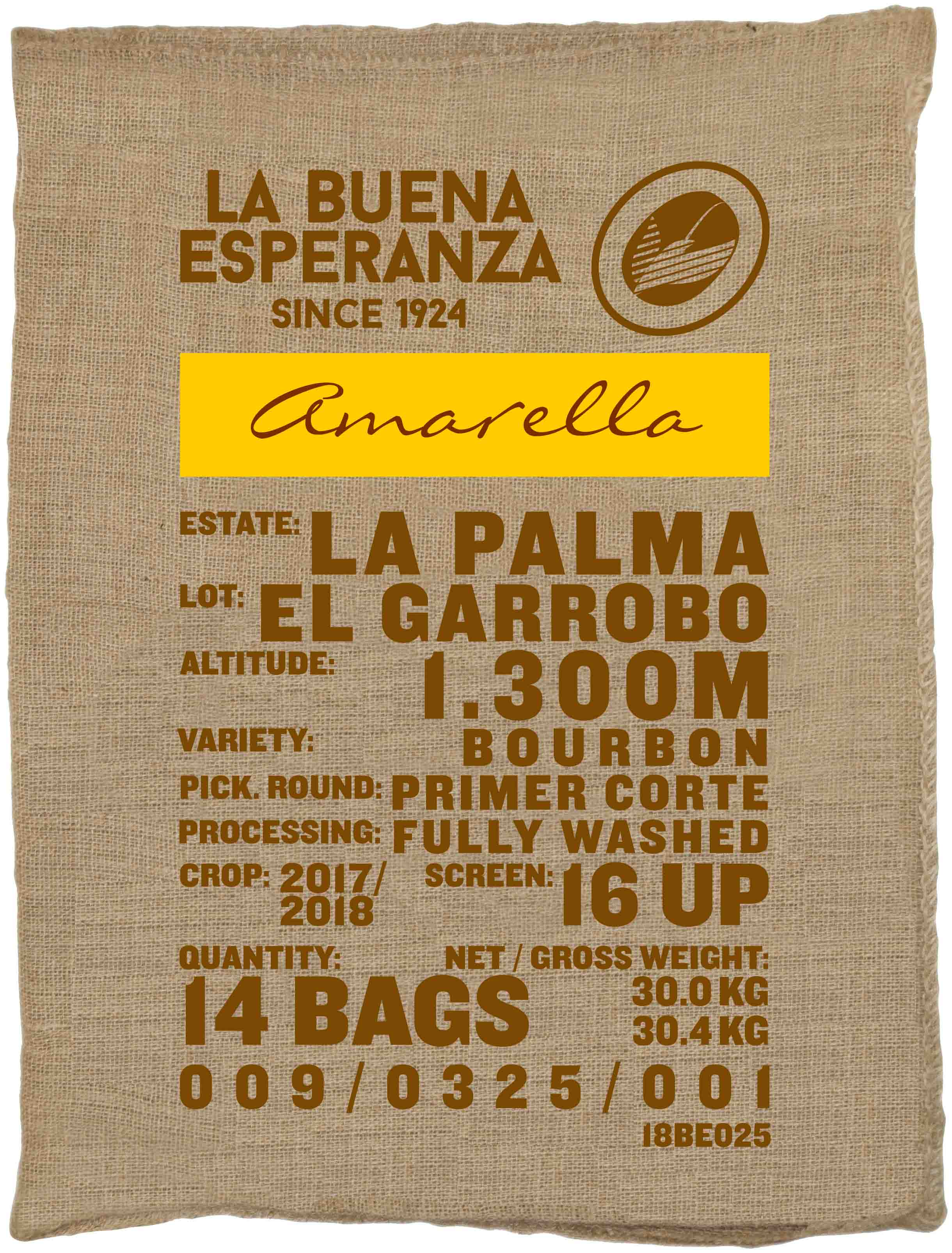 Ein Rohkaffeesack amarella Parzellenkaffee Varietät Bourbon. Finca La Buena Esperanza Lot El Garrobo.