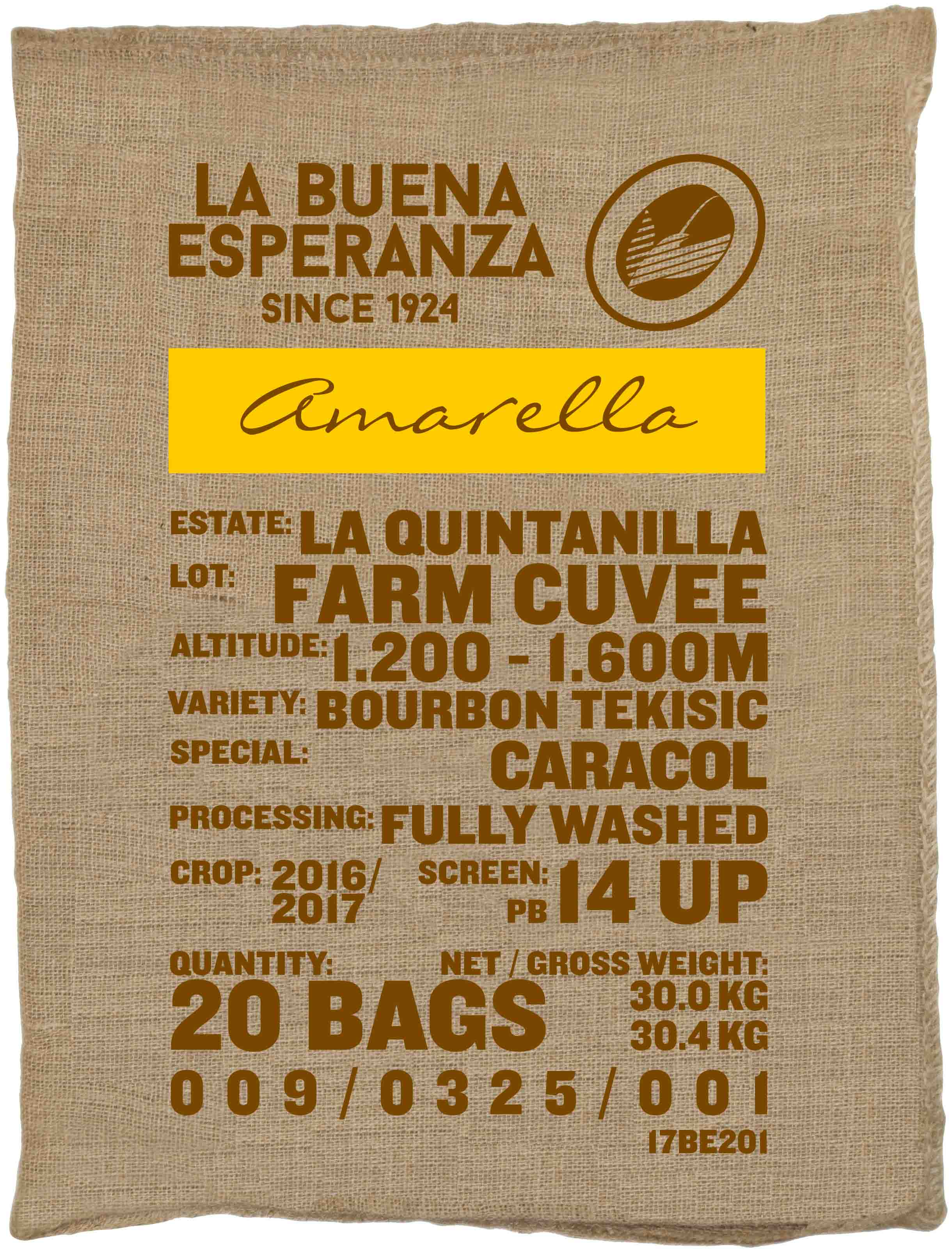 Ein Rohkaffeesack amarella Parzellenkaffee Varietät Bourbon Tekisic. Finca La Buena Esperanza Lot Farm Cuvee.