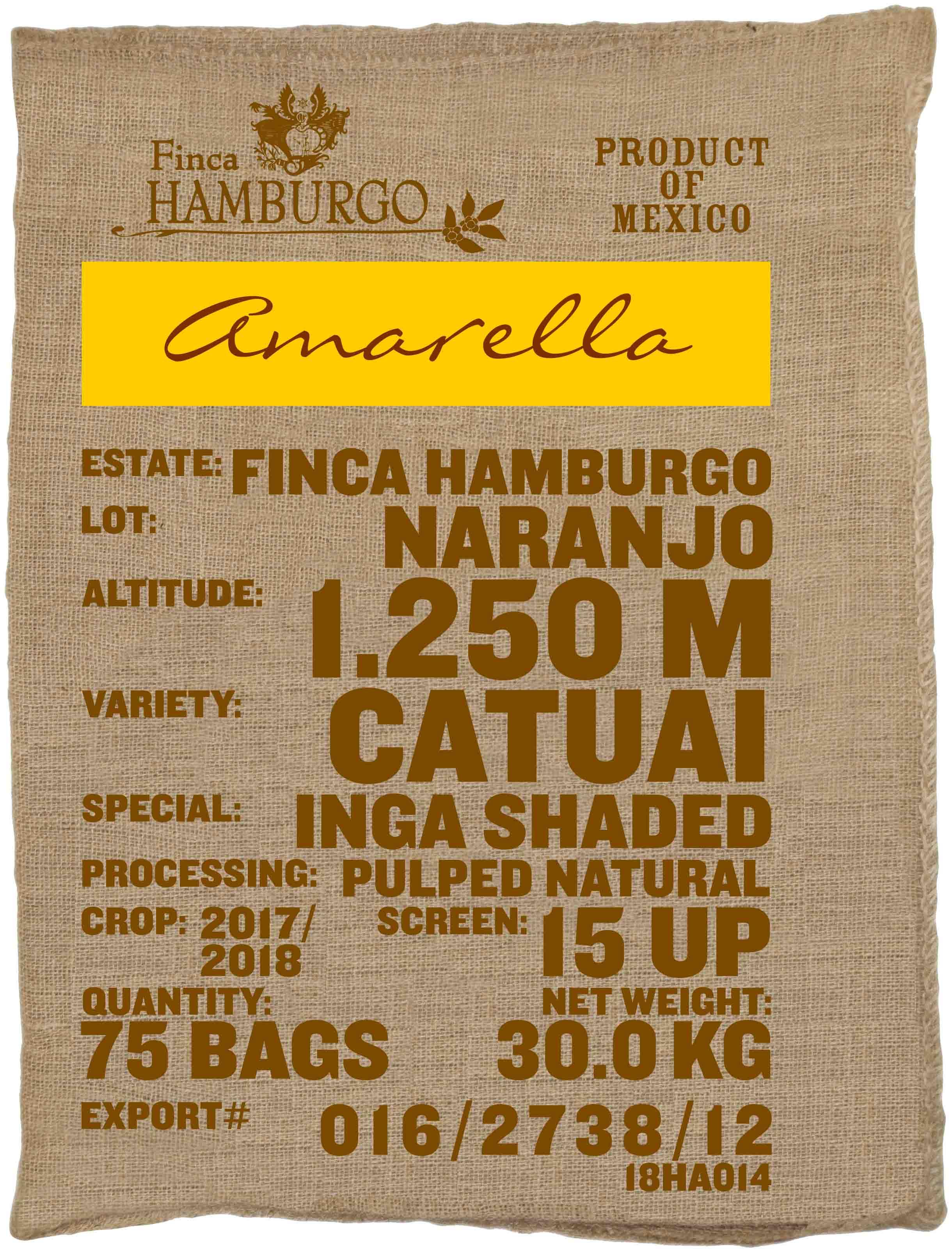 Ein Rohkaffeesack amarella Parzellenkaffee Varietät Catuai. Finca Hamburgo Lot Naranjo.