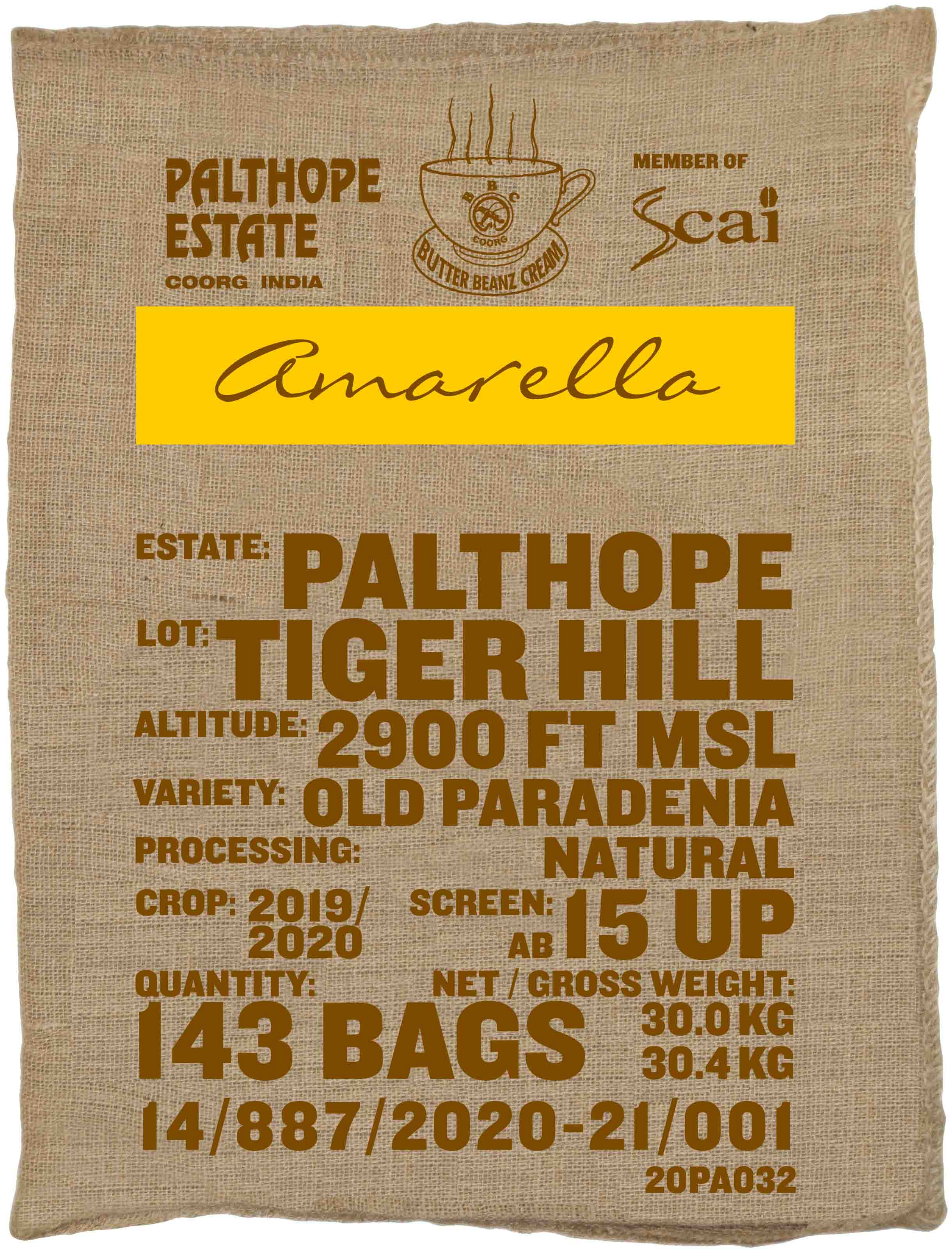 Ein Sack amarella Parzellenkaffee Varietät Old Paradenia. Palthope Estate Lot Tiger Hill.