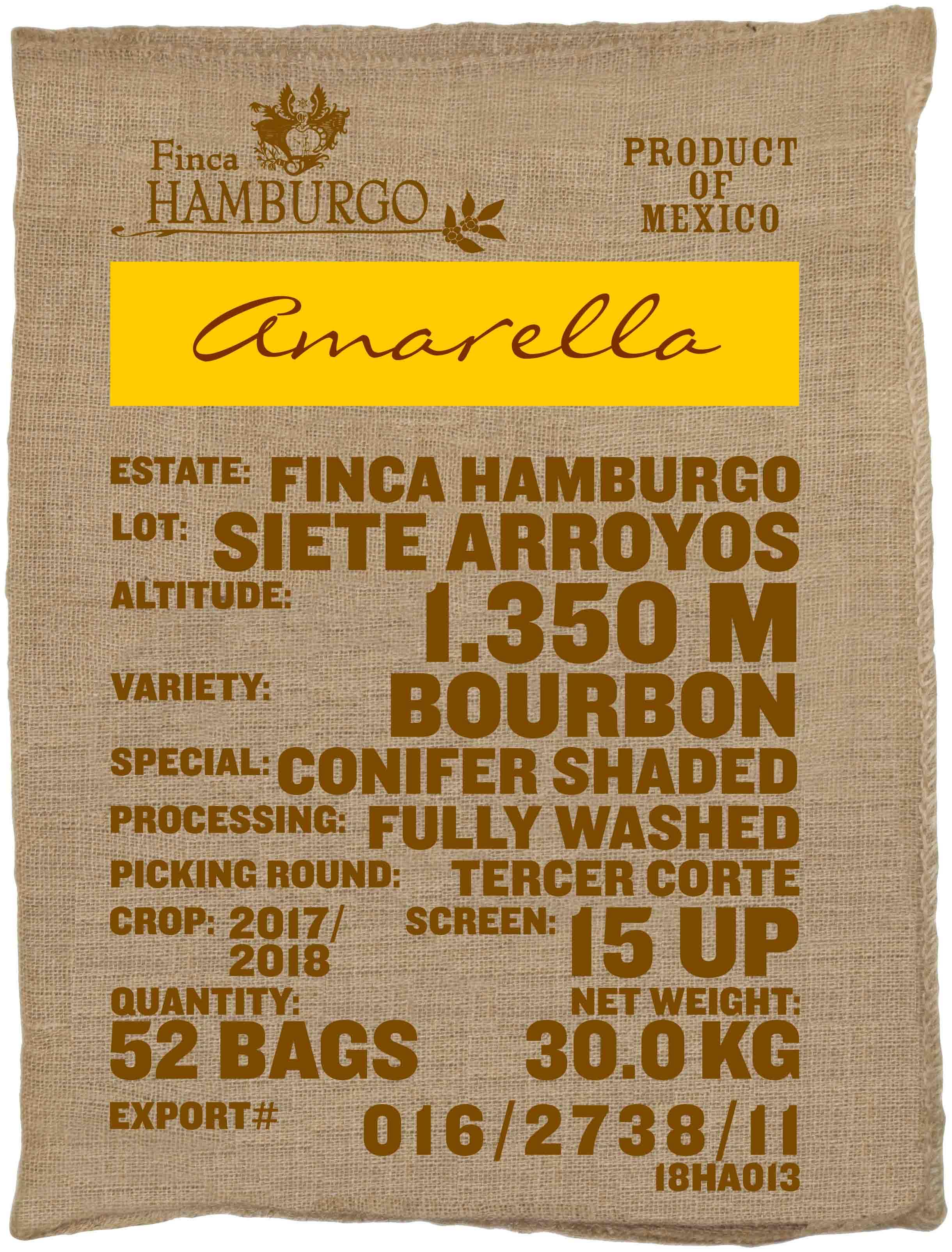 Ein Rohkaffeesack amarella Parzellenkaffee Varietät Bourbon. Finca Hamburgo Lot Siete Arroyos.