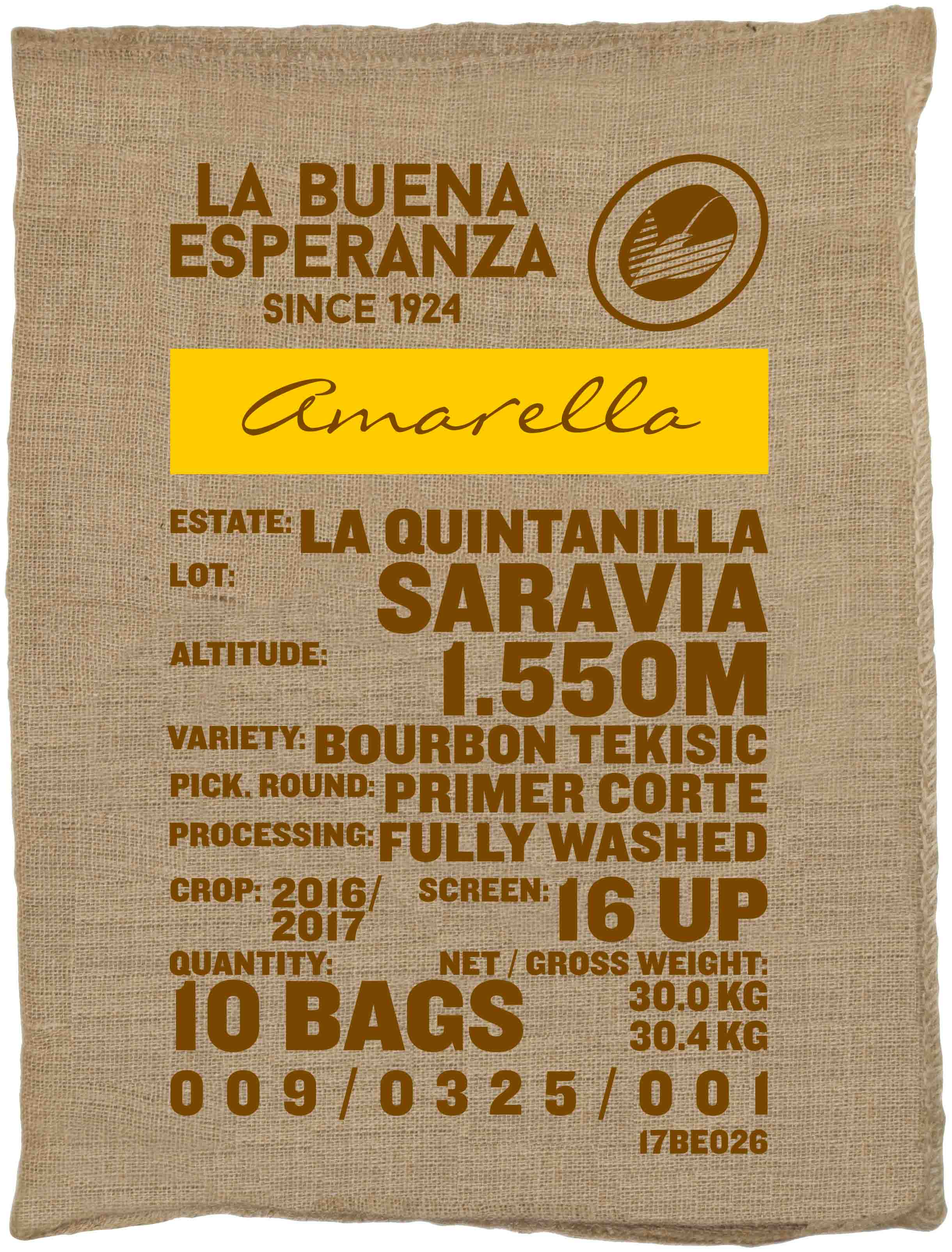 Ein Rohkaffeesack amarella Parzellenkaffee Varietät Bourbon Tekisic. Finca La Buena Esperanza Lot Saravia.