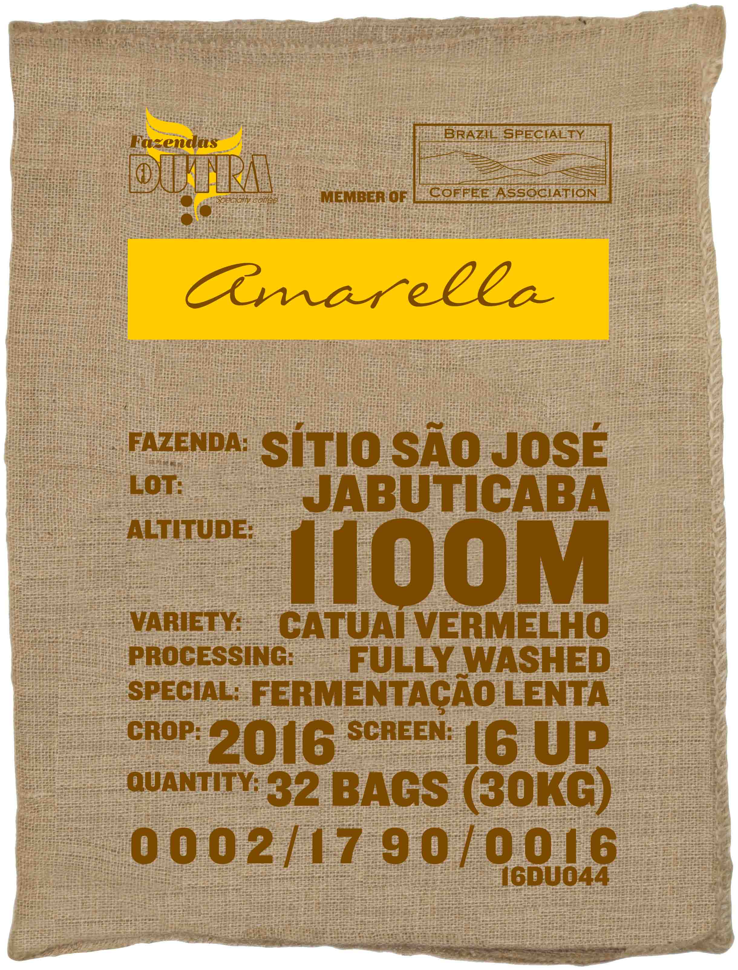 Ein Rohkaffeesack amarella Parzellenkaffe Varietät Catuai vermelho. Fazendas Dutra Lot Jabuticaba.
