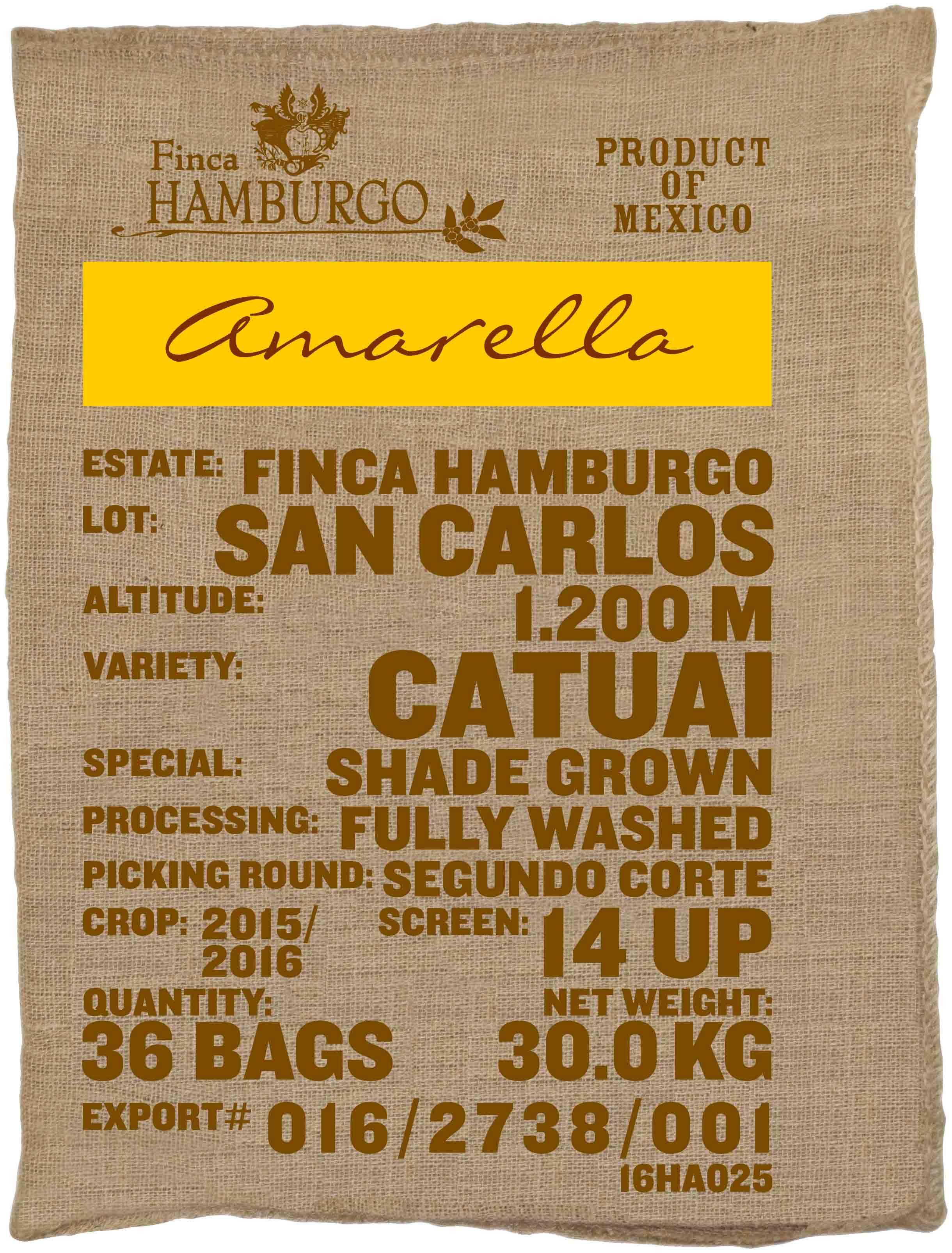 Ein Rohkaffeesack amarella Parzellenkaffee Varietät Catuai. Finca Hamburgo Lot San Carlos.