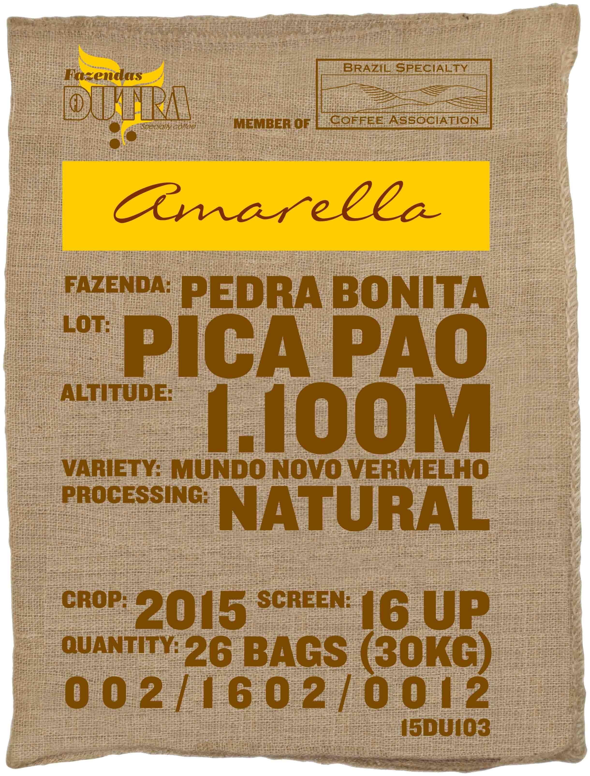 Ein Rohkaffeesack amarella Parzellenkaffee Varietät Mundo Novo vermelho. Fazendas Dutra Lot Pica Pao.