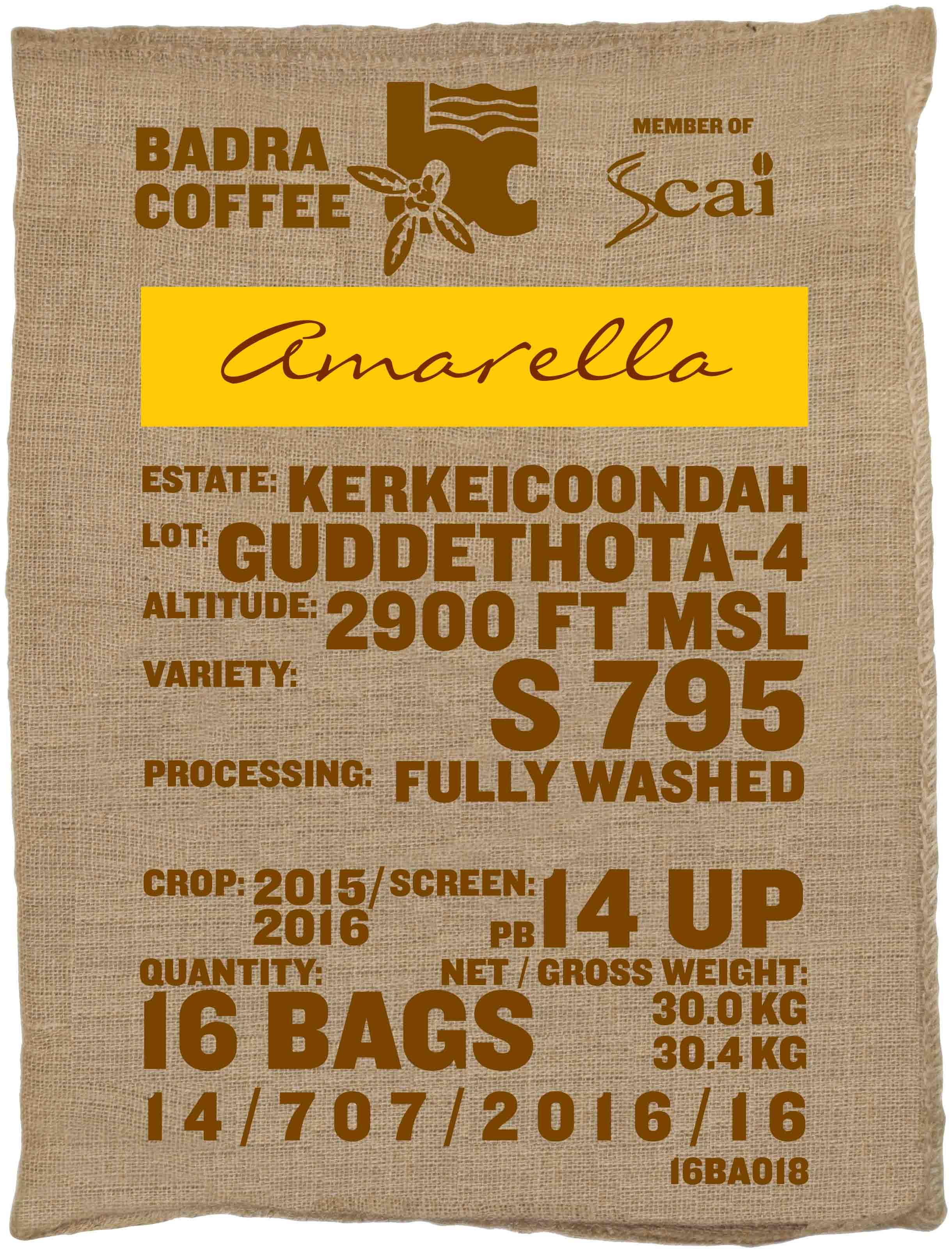 Ein Kaffeesack Rohkaffee Varietät S795 Perlbohne. Badra Estates Lot Guddethota 4